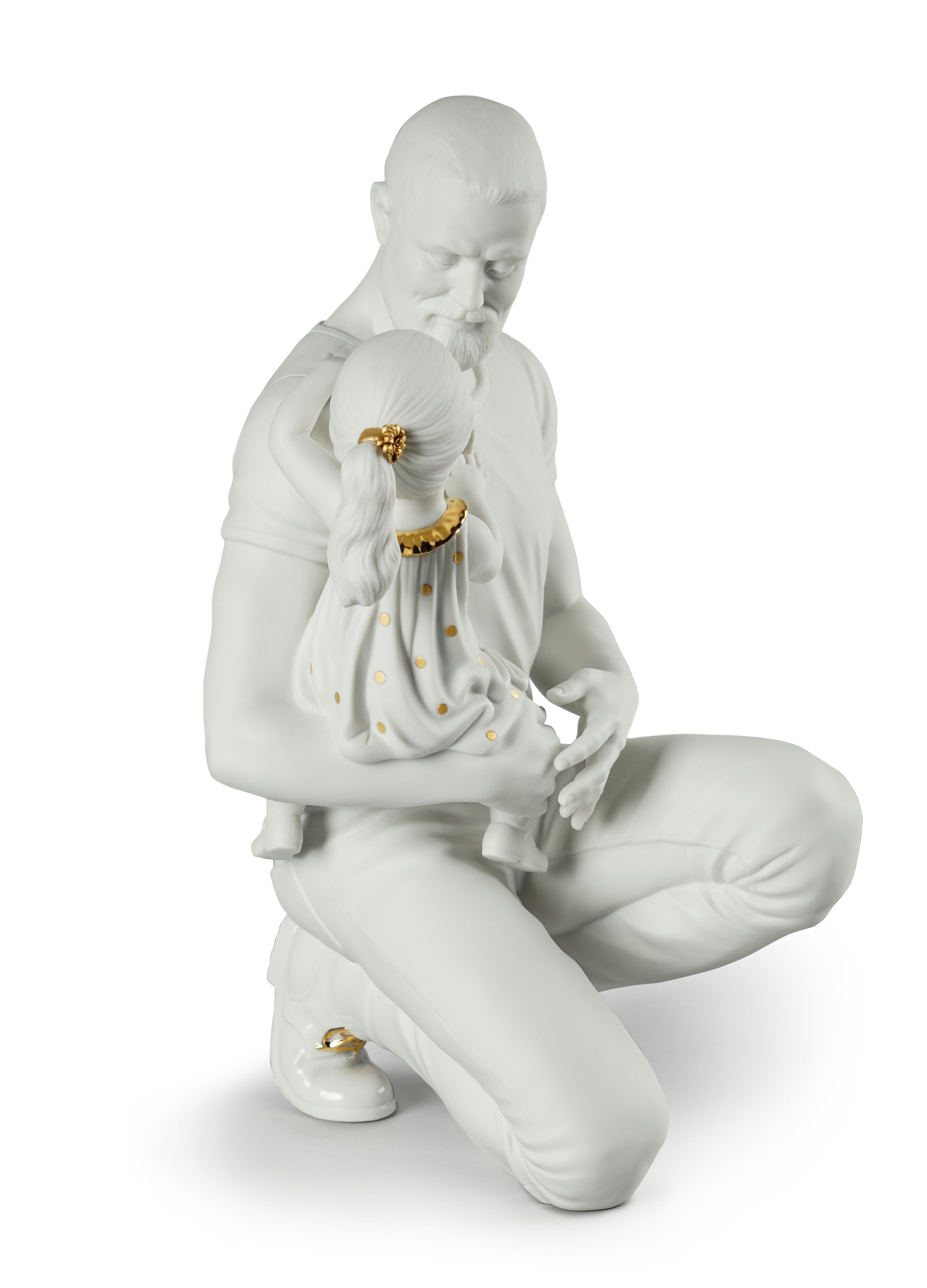 Lladro In Daddy's Arms White & Gold