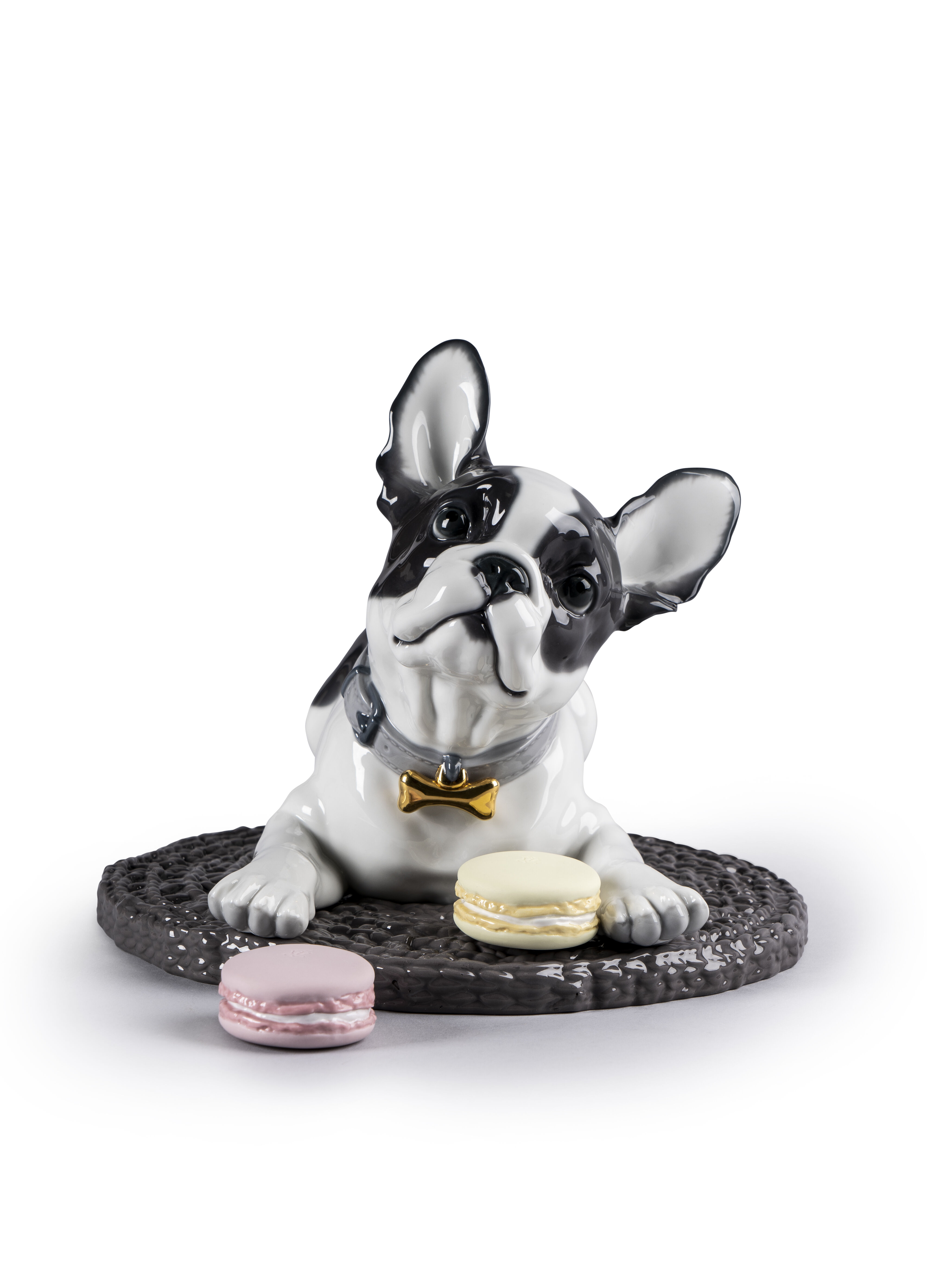 Lladro French Bulldog with Macarons
