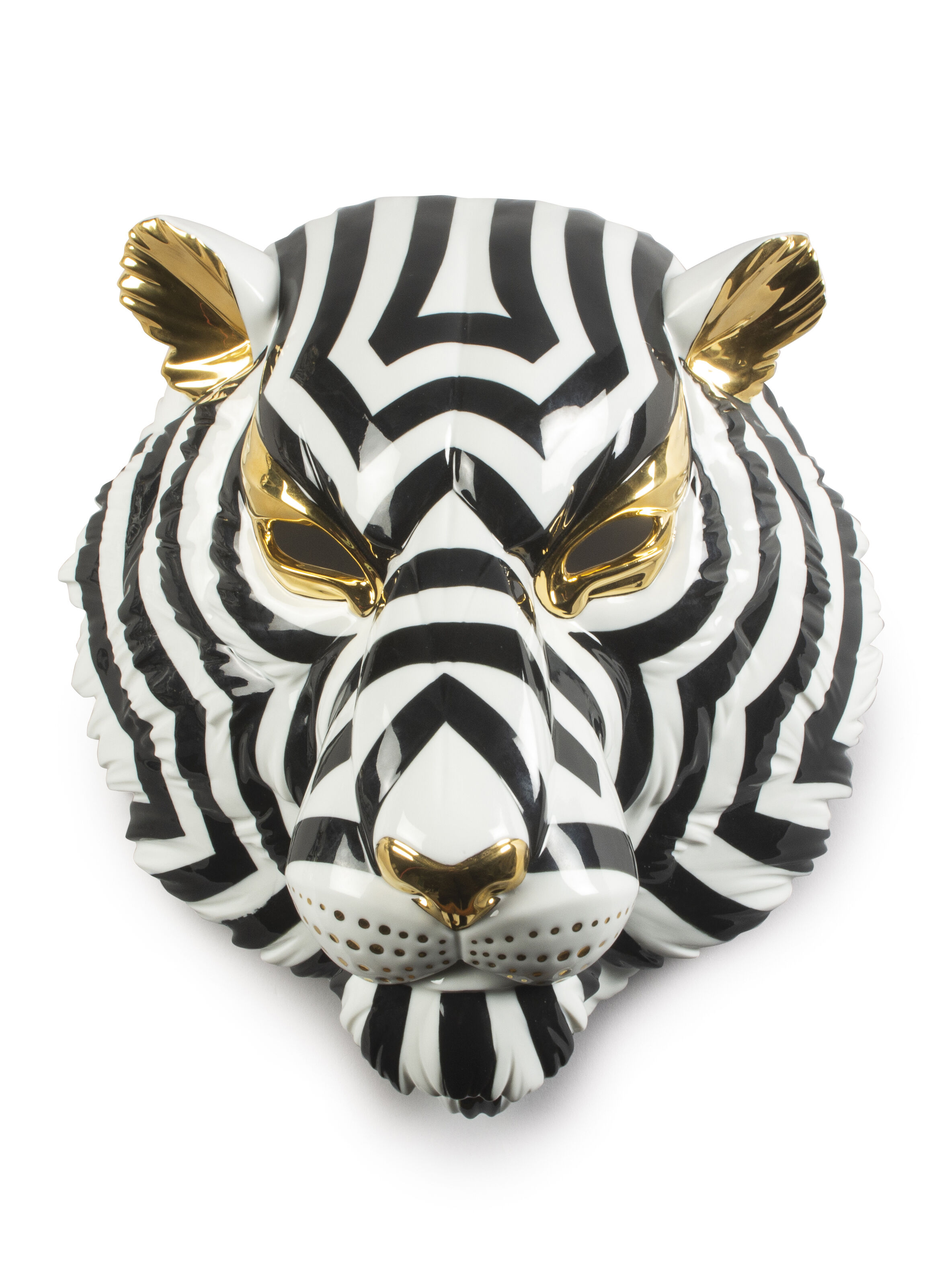 Lladro Tiger Mask. Black and Gold