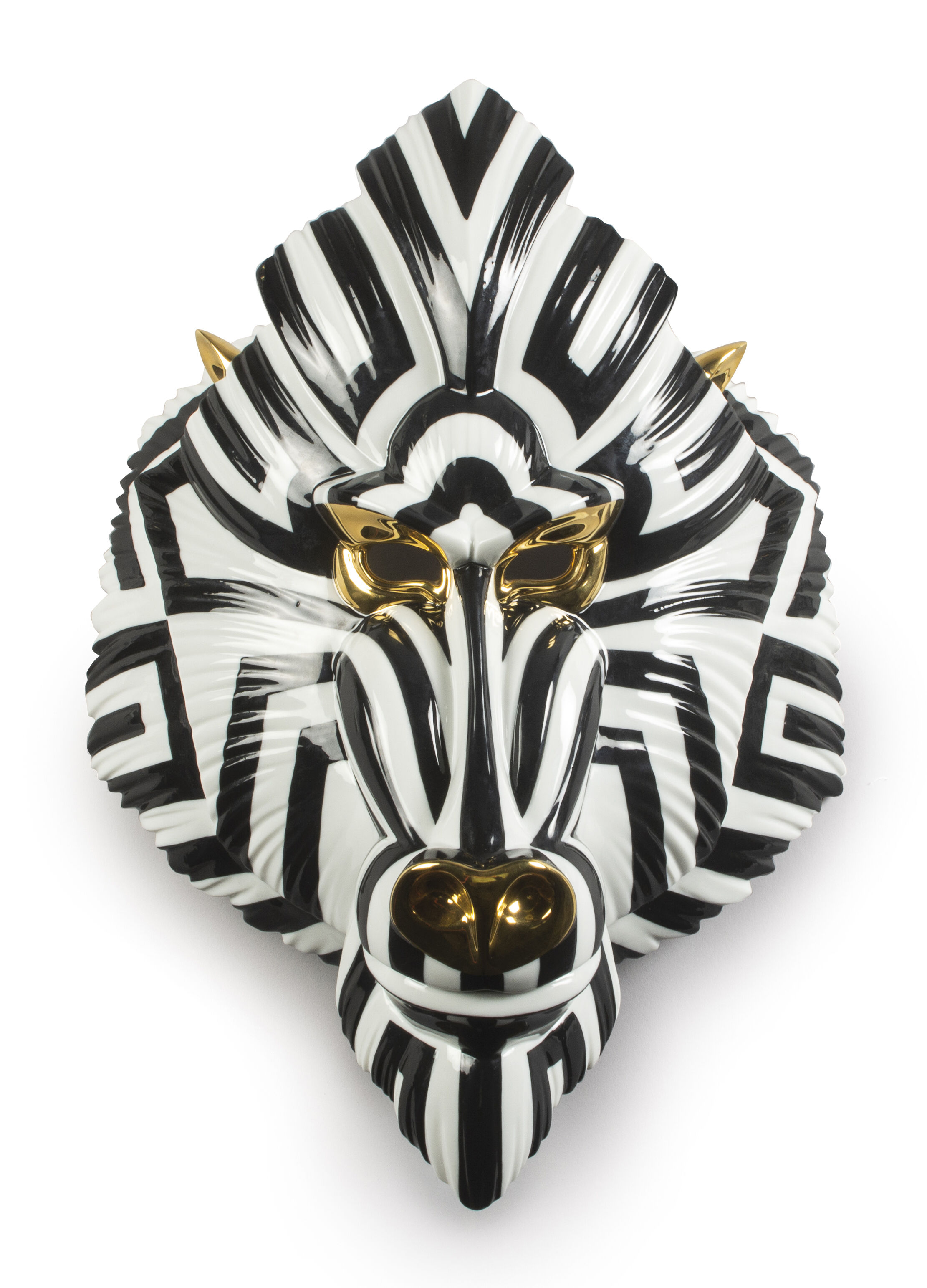 Lladro Mandrill Mask. Black and Gold