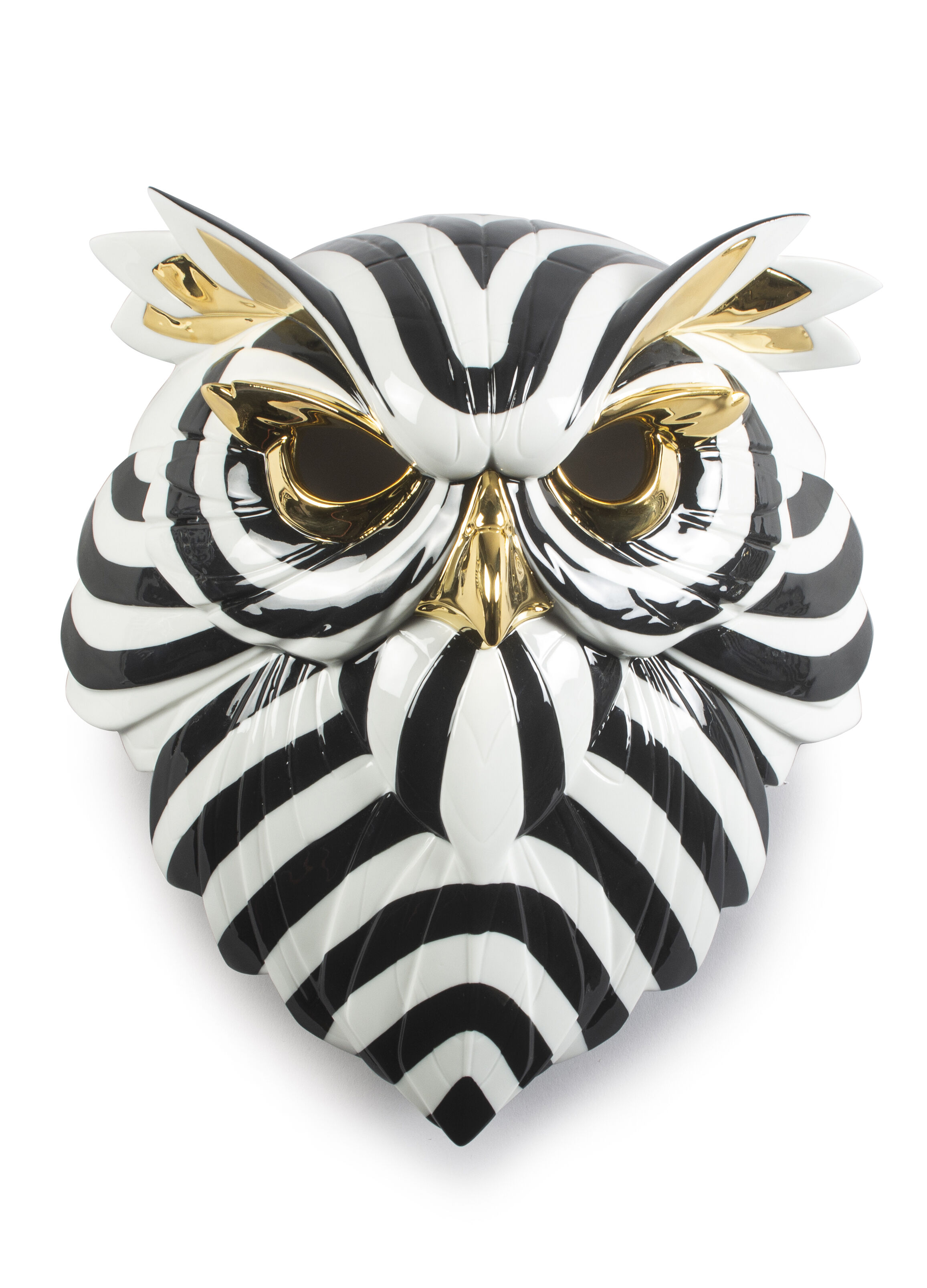 Lladro Owl Mask. Black and Gold
