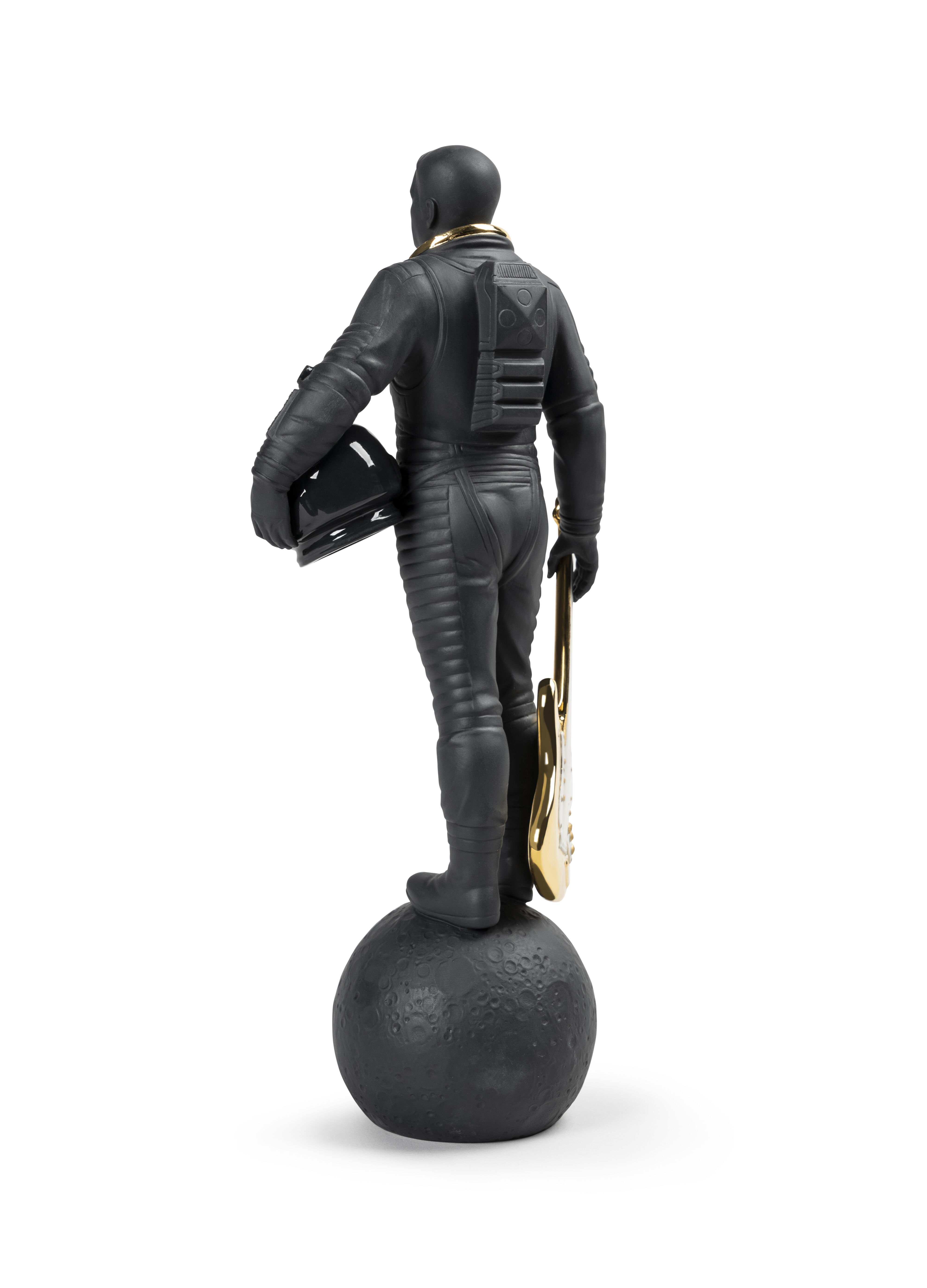 Lladro Walking on the Moon Figurine. Black & Gold