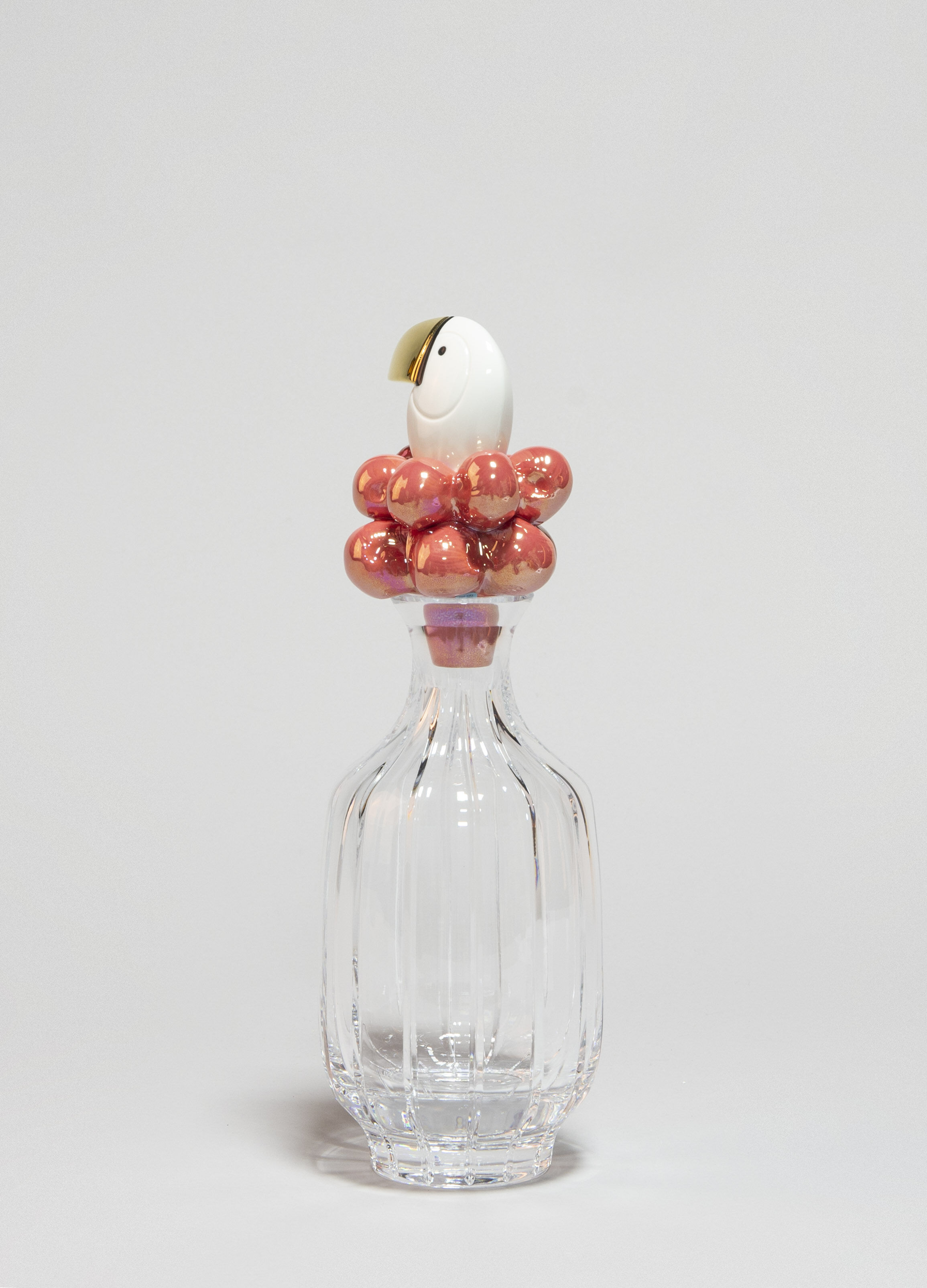 Lladro Toucan Glass Bottle Golden Luster