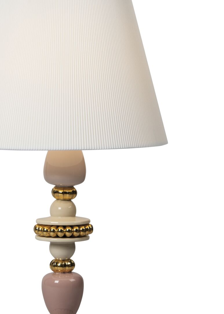 Lladro Firefly Table Lamp. Pink and Golden Luster