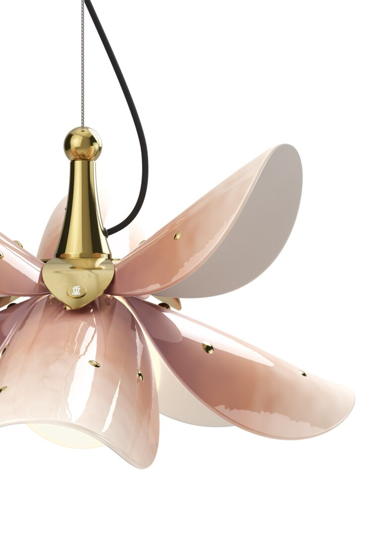 Lladro Blossom Hanging Lamp Pink and Golden Luster (CE/UK)