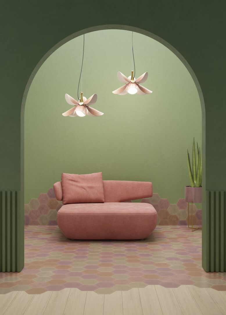 Lladro Blossom Hanging Lamp Pink and Golden Luster (JP)