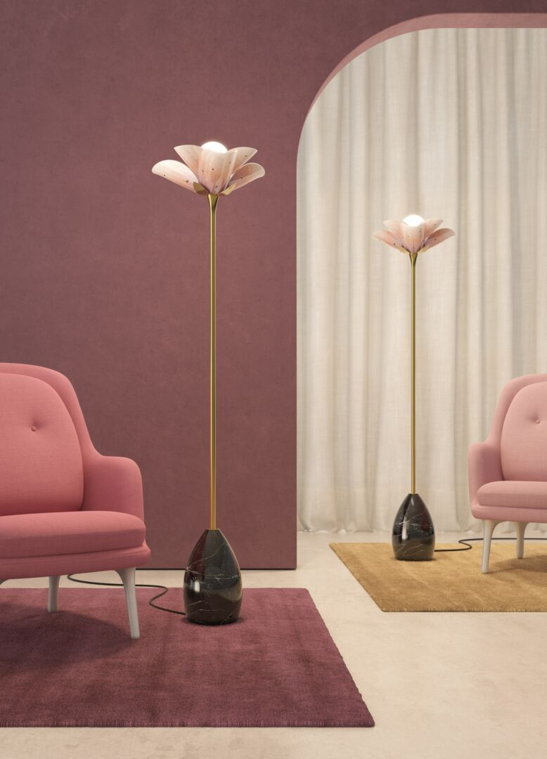 Lladro Blossom Floor Lamp Pink and Golden Luster (UK)