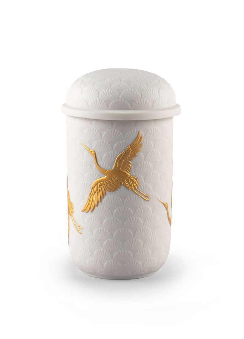 Lladro Golden Cranes Candle Redwood fire Scent