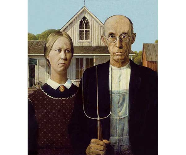 Marking The List As Another Iconic Piece In American Art Gothic Painted By Grant Wood 1930 Is A Dry Depiction Of Farmer And His Plain Jane