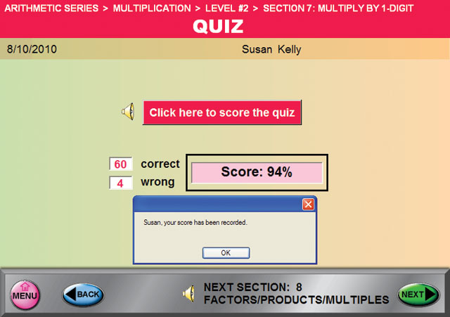 Multiplication Score the Quiz