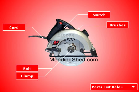 Image of a Skil Circular Saw parts diagram. There are labels that point to the main parts of the saw. Listed below the image on the page are the replacement parts for Skil Circular Saws