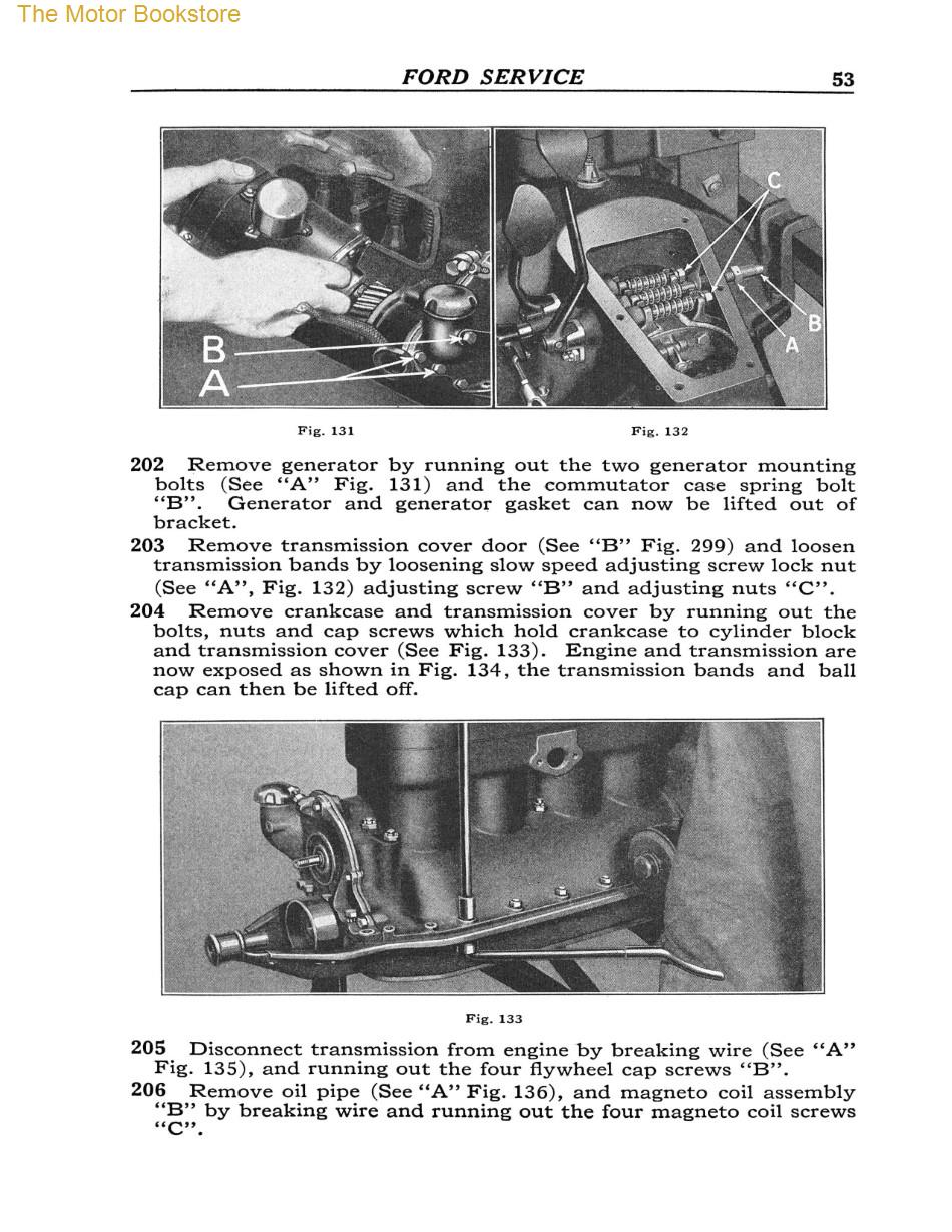 1909 - 1927 Ford Model T, TT Service Manual Sample Page - Engine