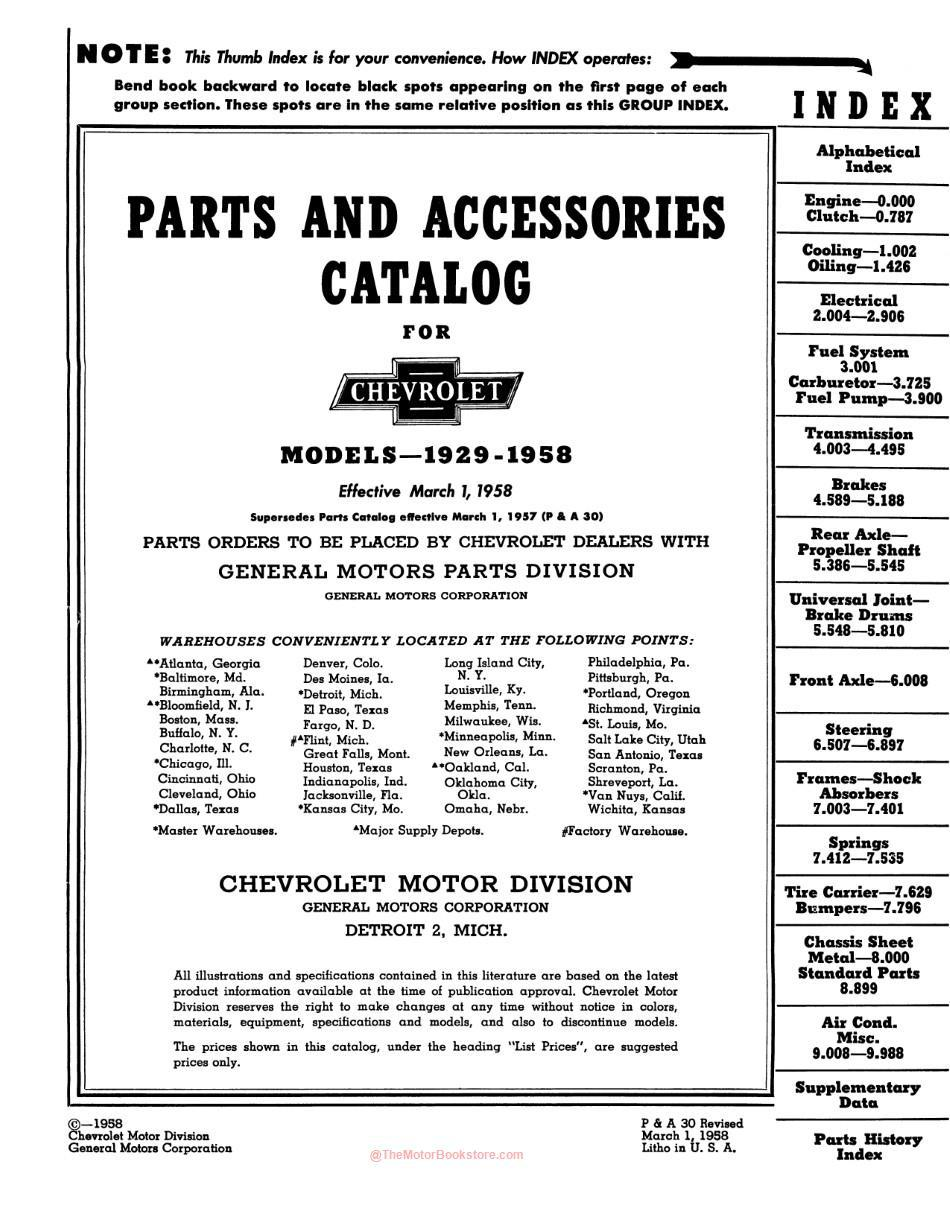 1929 - 1958  Ford Chevrolet Parts & Accessories Catalog - Volume 1 Contents