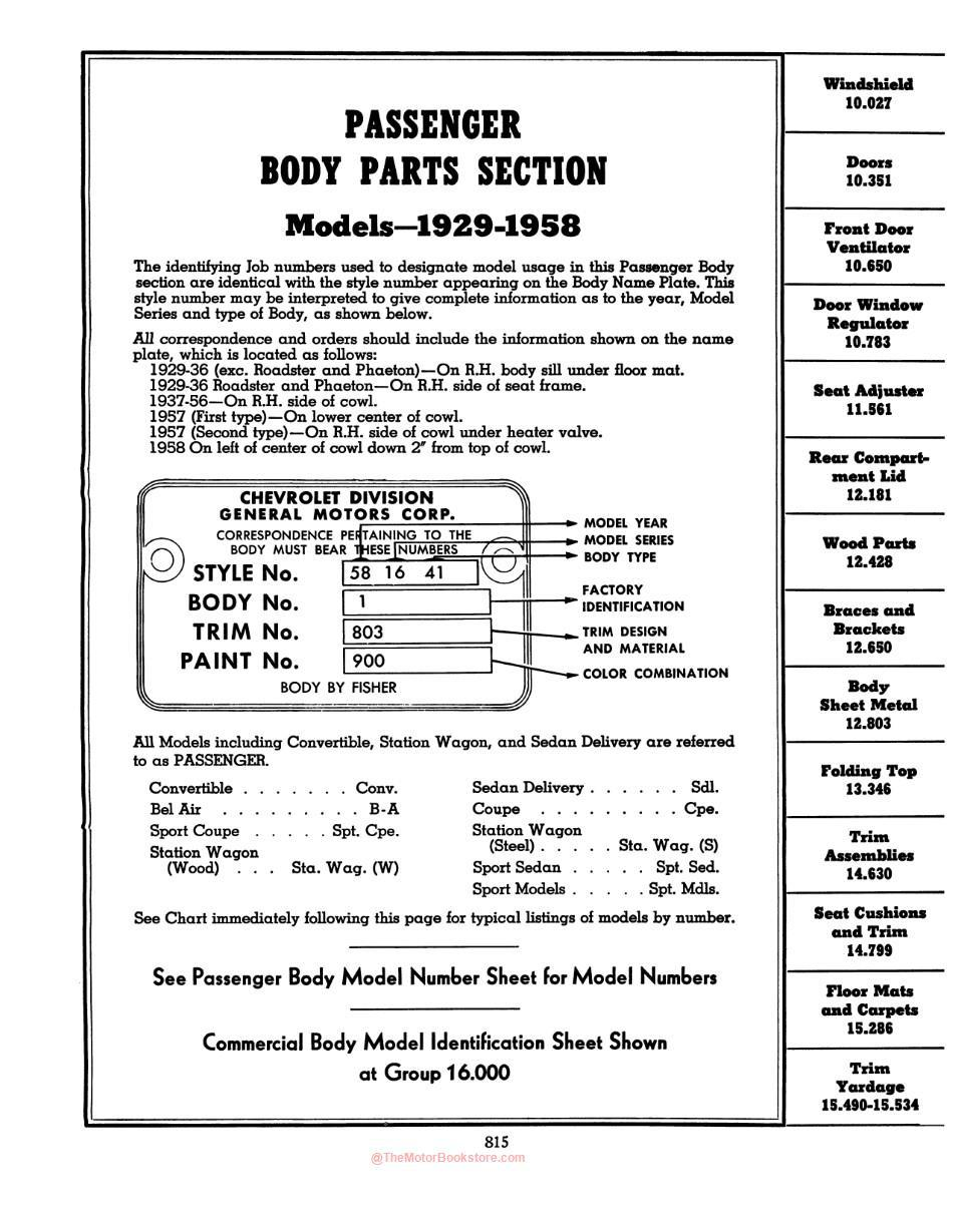 1929 - 1958  Ford Chevrolet Parts & Accessories Catalog - Volume 2 Contents