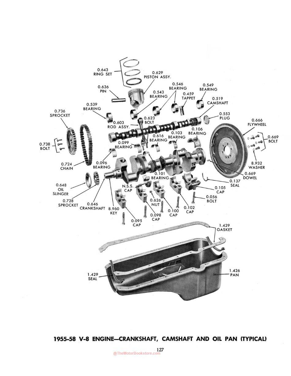 1929 - 1958 Chevrolet Parts Book Sample Page - V8 Cutout Section