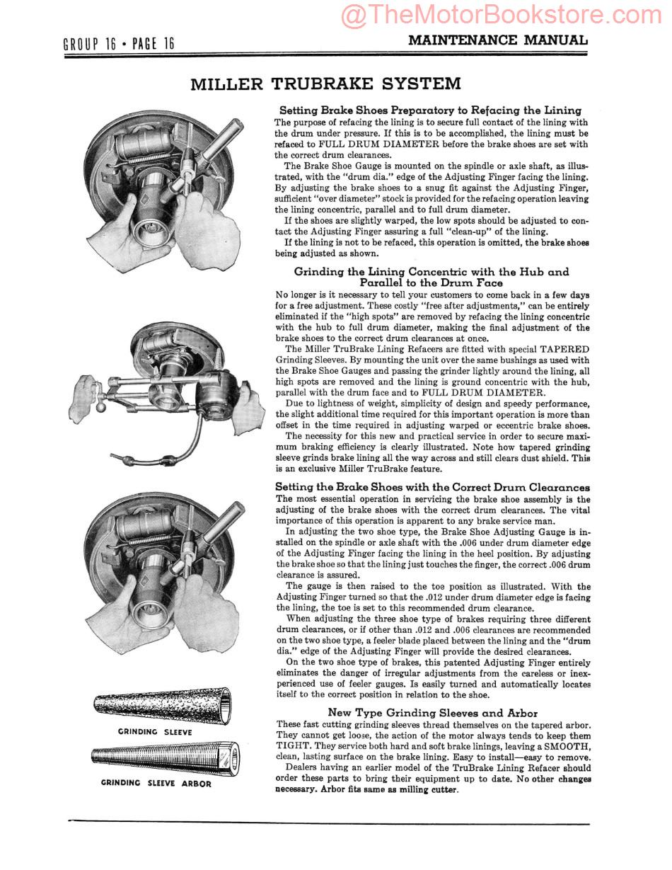 1934-36 Plymouth Maintenance Manual Sample Page - Miller Trubrake System