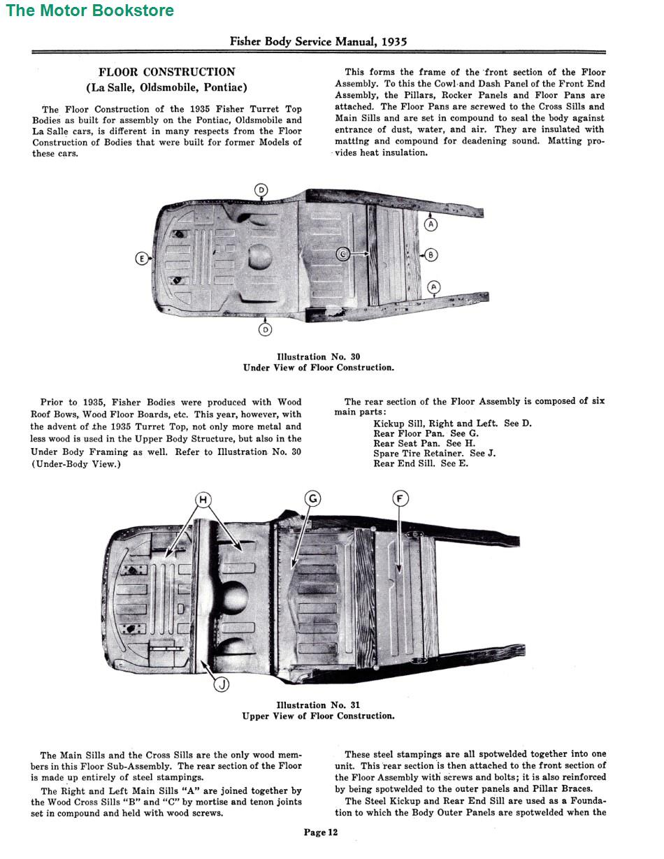 1935 - 1936 Fisher Body Service Manual Sample Page - Floor Construction