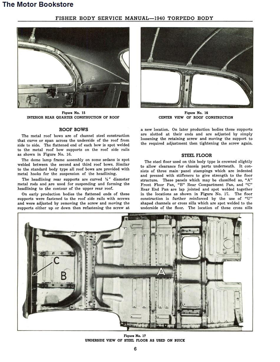 1939 - 1940 Fisher Body Shop Manual Sample Page - Roof & Floor