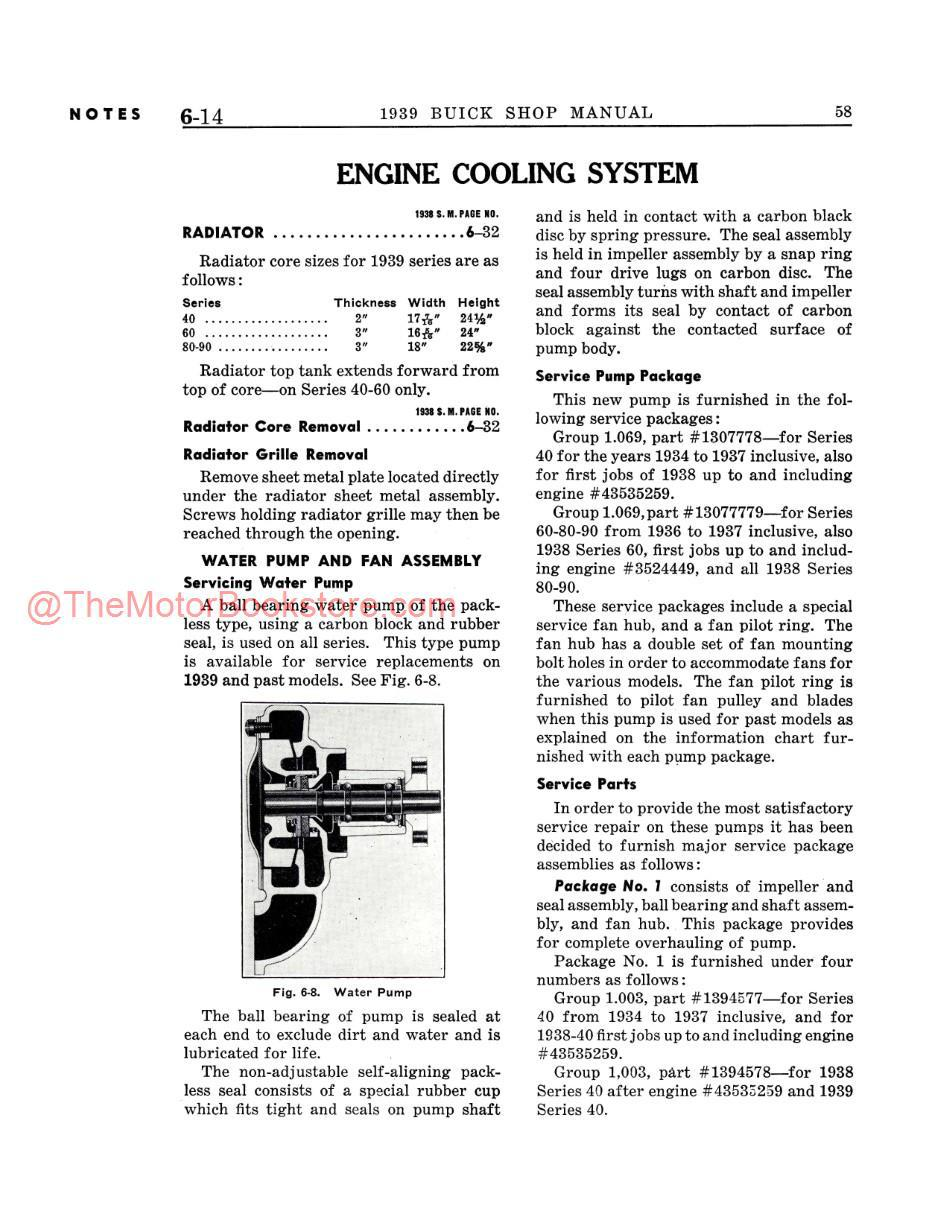 1939 Buick Shop Manual Supplement Sample Page - Cooling System