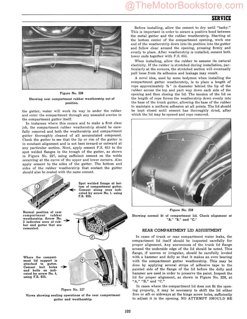 1941-42 Fisher Body Service Manual  Sample Page - Lid Adjustment and Rear Compartment