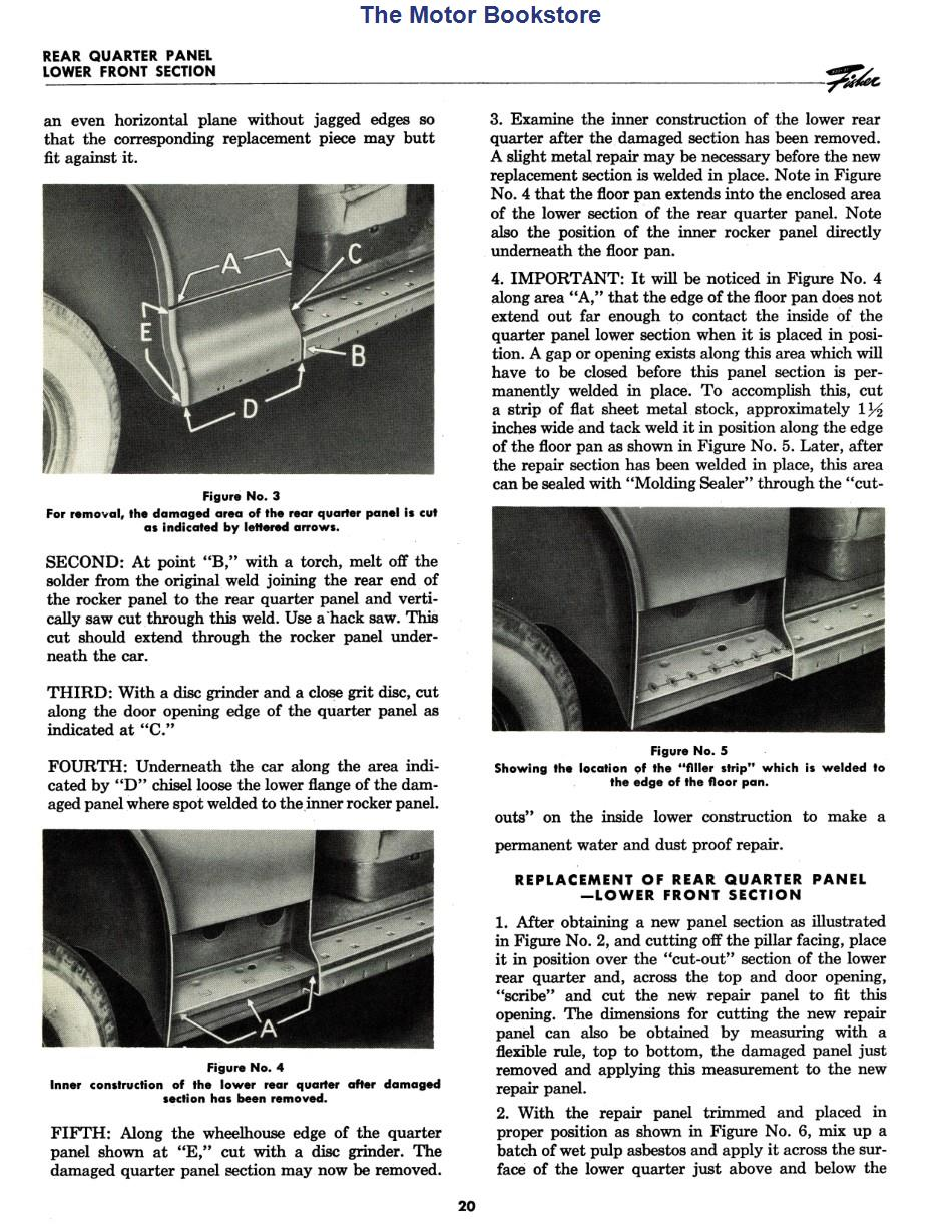 1941 - 1942 Fisher Body Sheet Metal Service Manual Sample Page - Rear Quarter Panel Lower Front Section