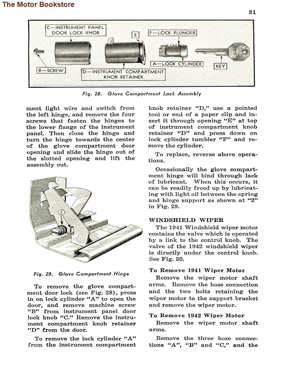 1941 -1942  Pontiac Shop Manual Sample Page - Glove Compartment