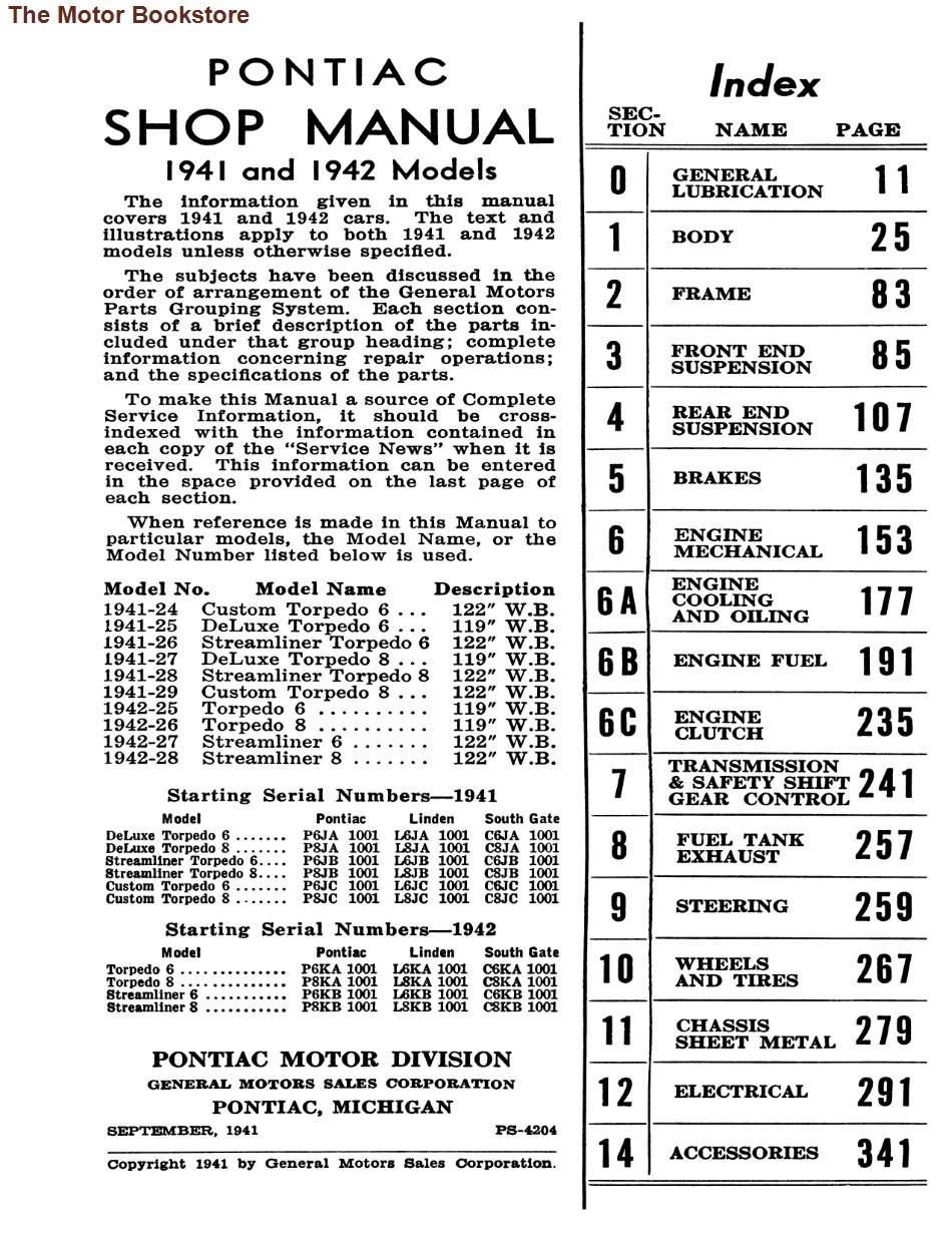 1941- 1942 Pontiac Shop Manual - Table of Contents