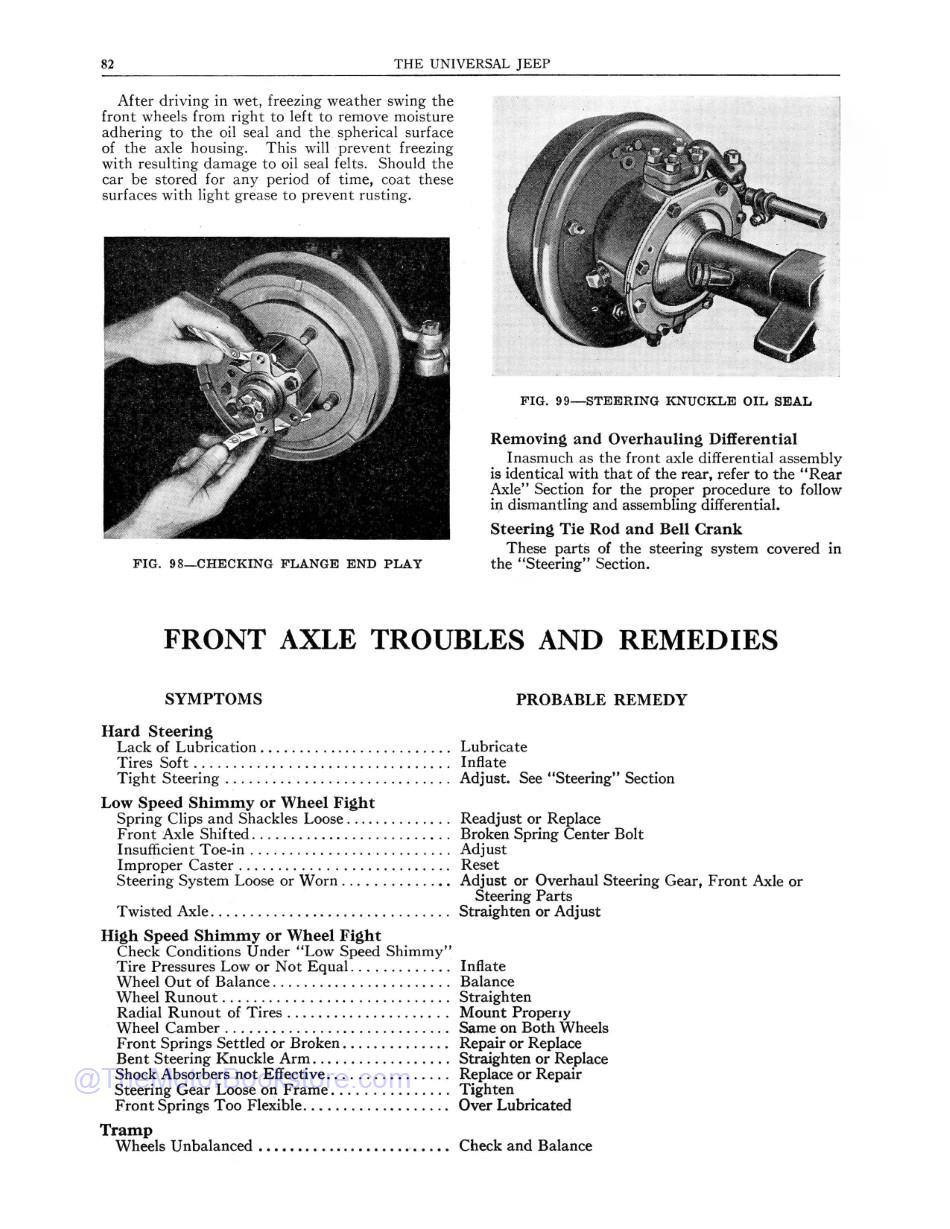 1945 - 1949 Jeep Willys CJ-2A Maintenance Manual  Sample Page  - Front Axle Troubles and Remedies