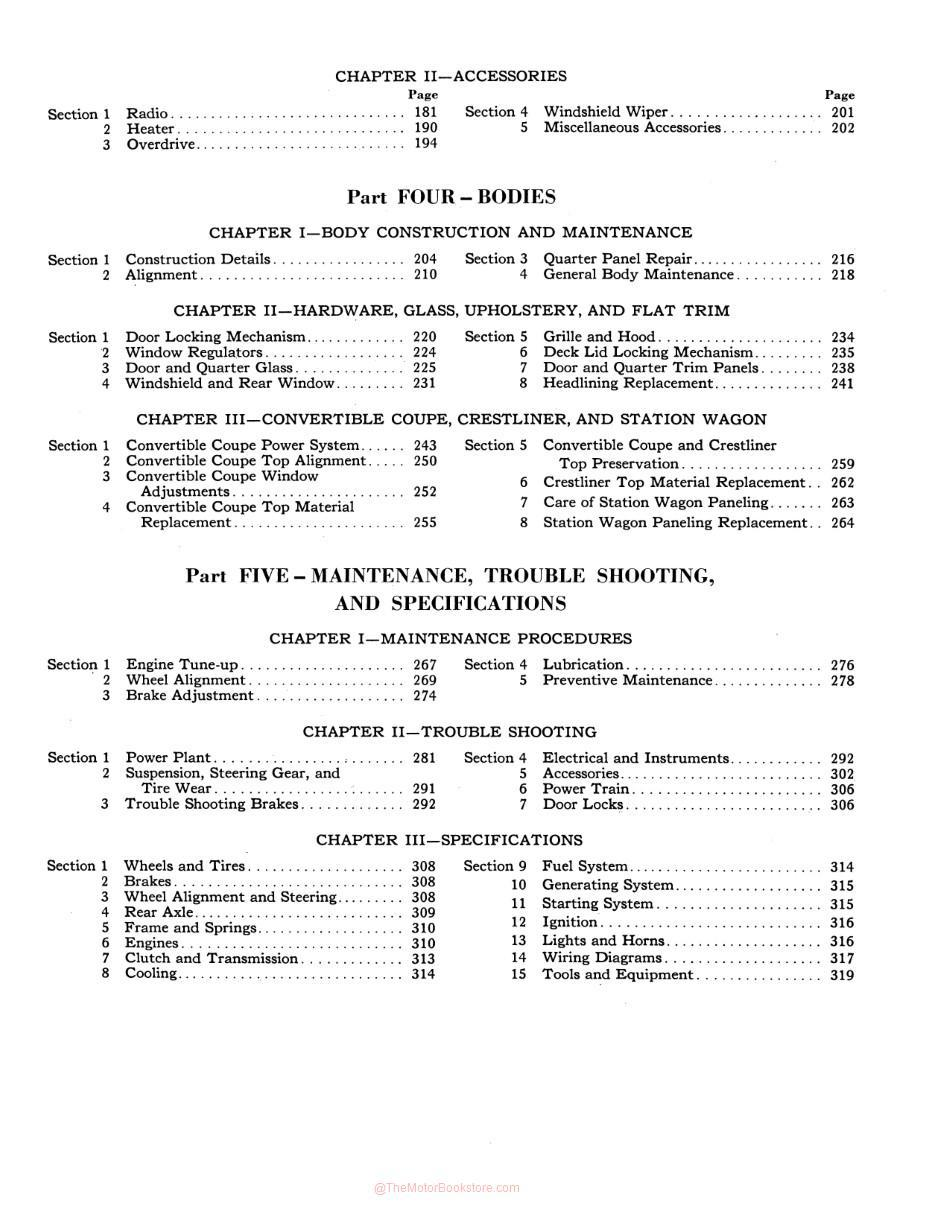1949-1951 Ford Passenger Car Shop Manual - Table of Contents Page 2