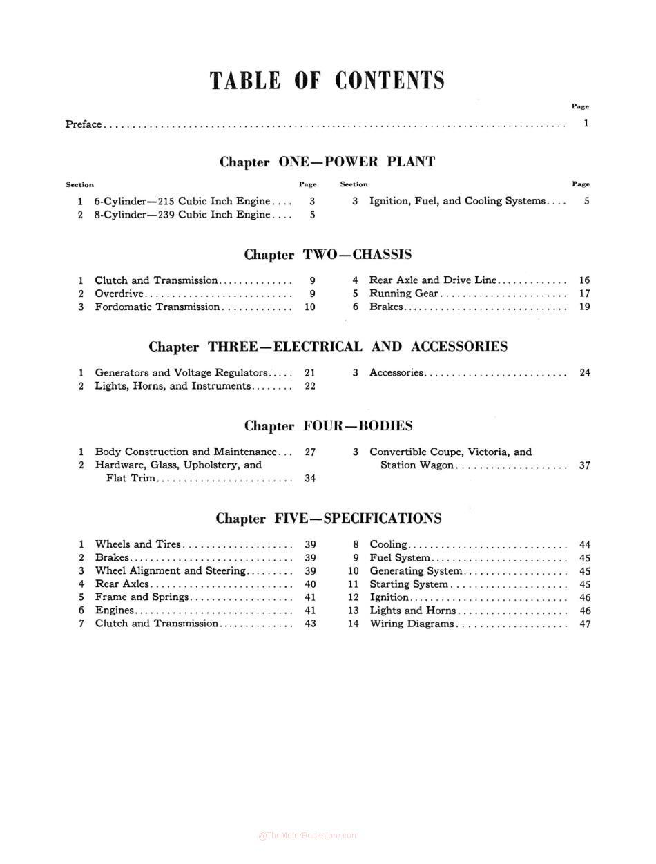 1952-1954 Ford Passenger Car Shop Manual - Table of Contents Page 3