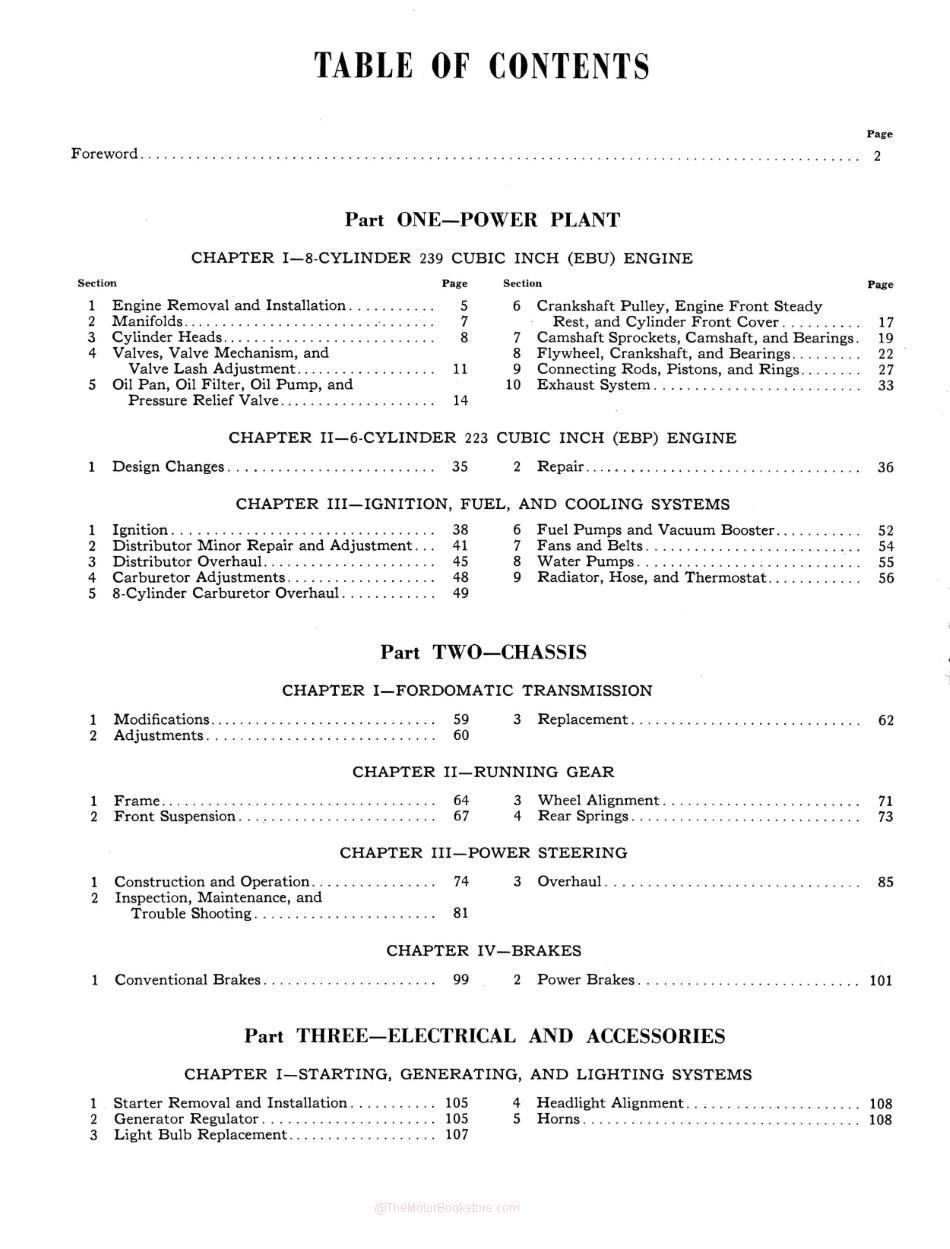 1952-1954 Ford Passenger Car Shop Manual - Table of Contents Page 4