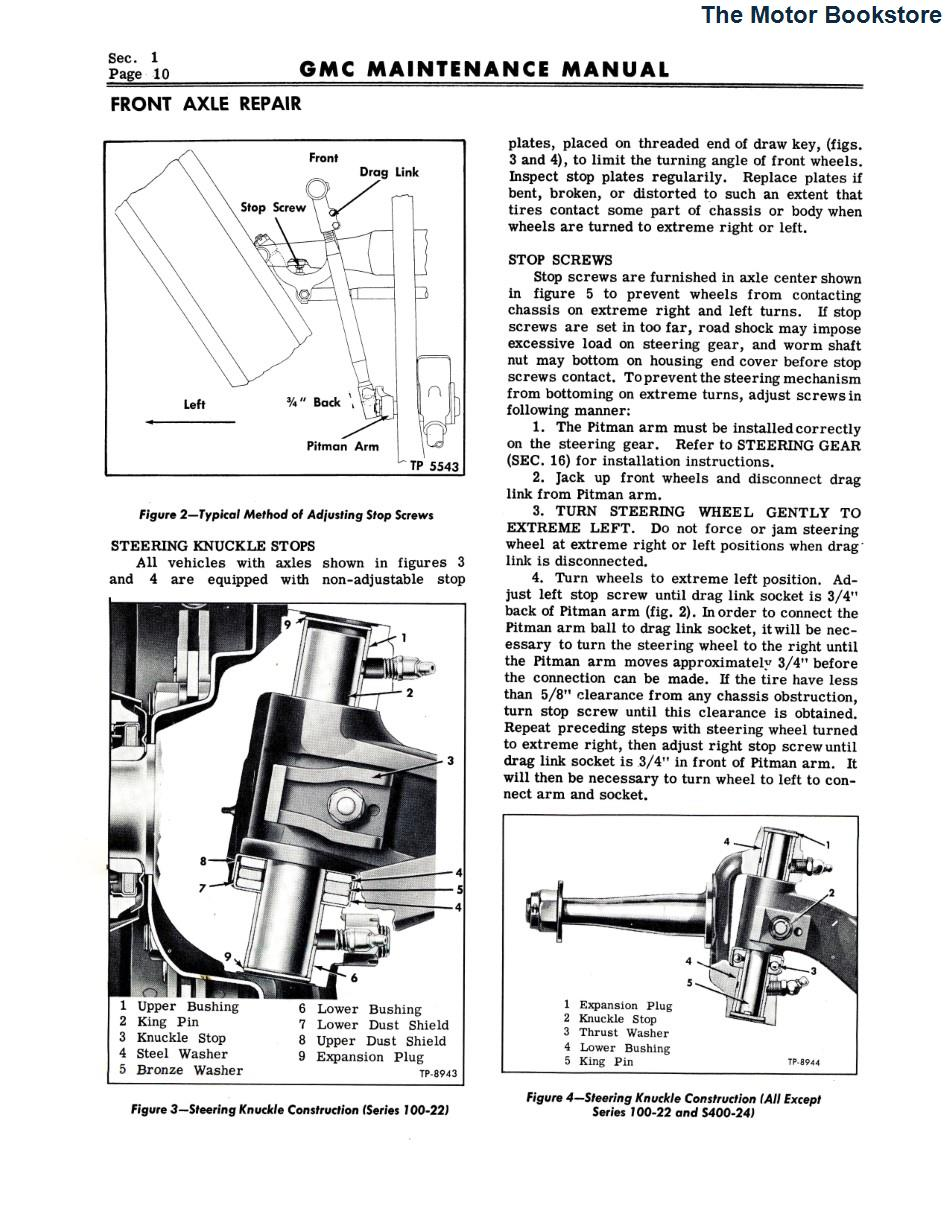 1953 - 1954 GMC Truck Maintenance Manual Sample Page - Front Axle