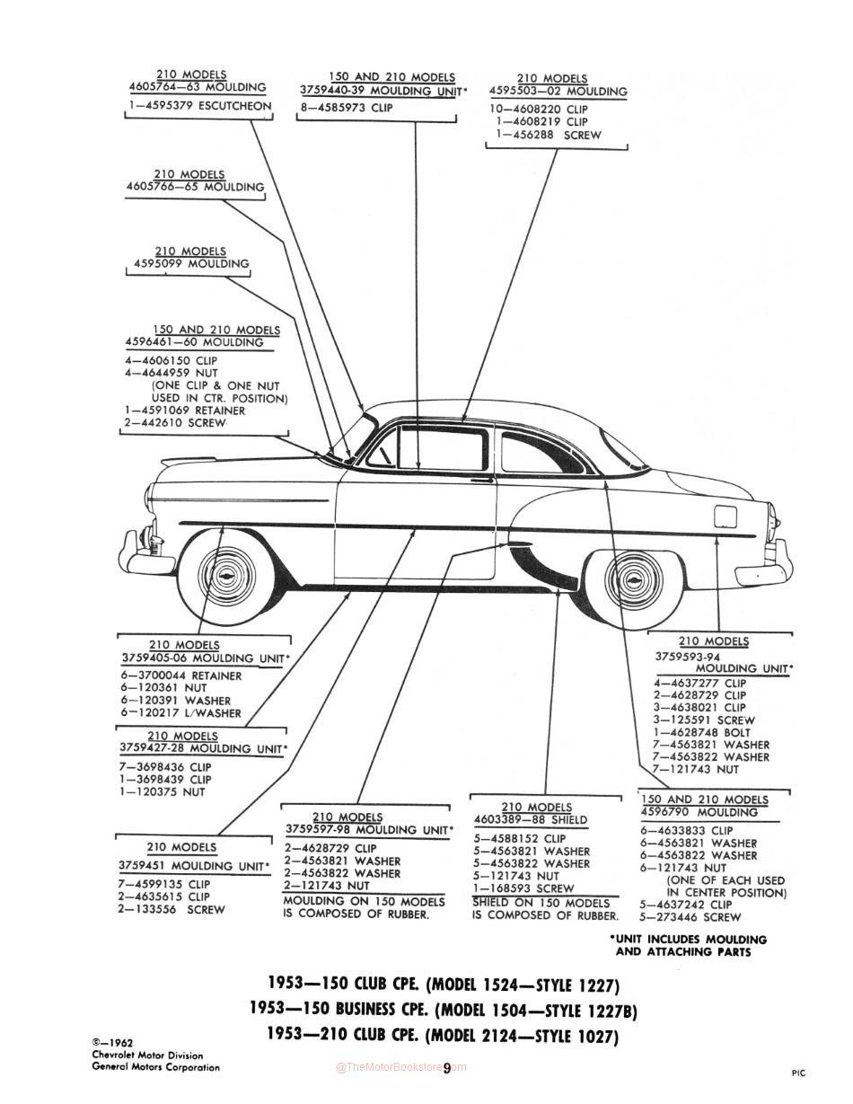 1953-1963 Chevrolet Body Moldings and Attaching Parts