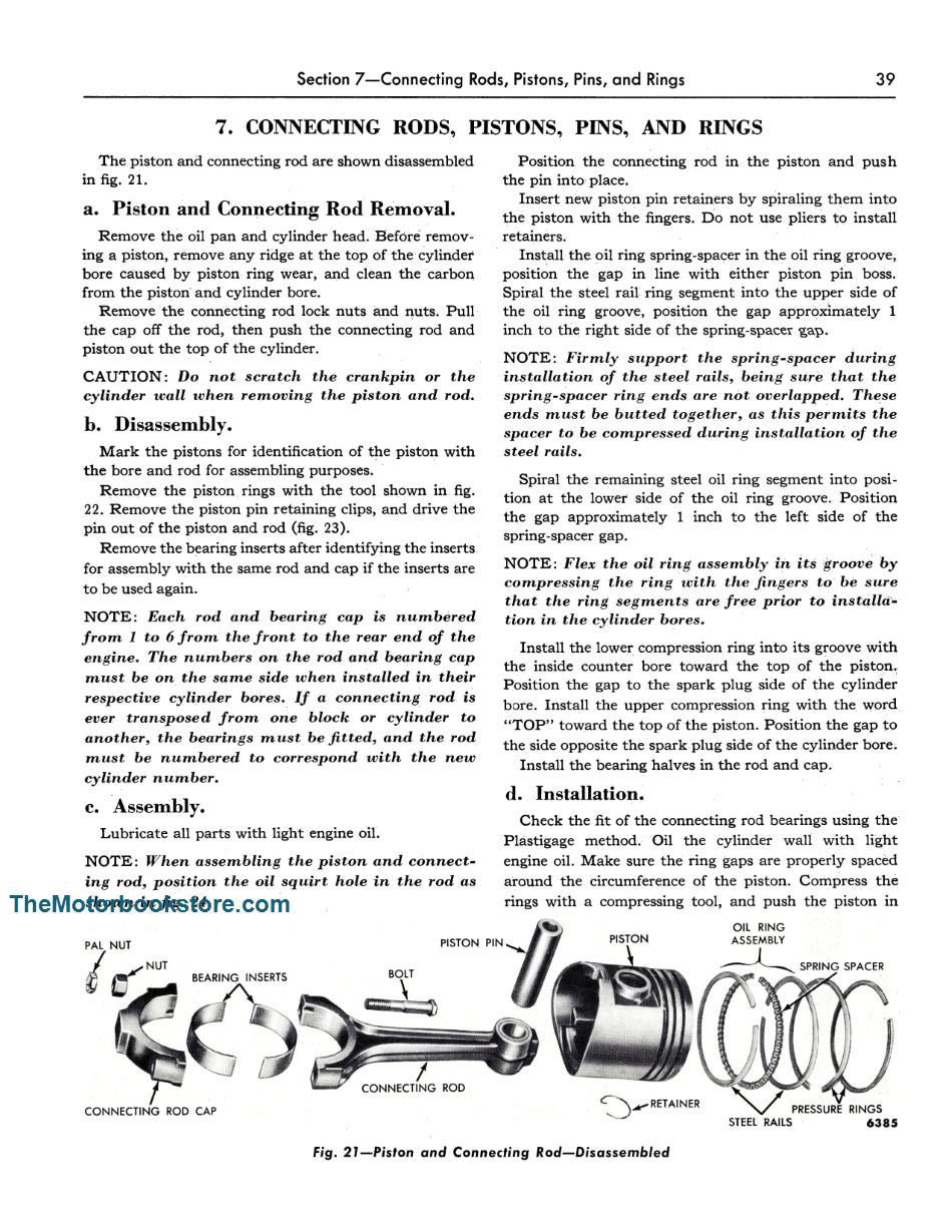 1954-55 Ford Truck Shop Manual Sample Page - Piston