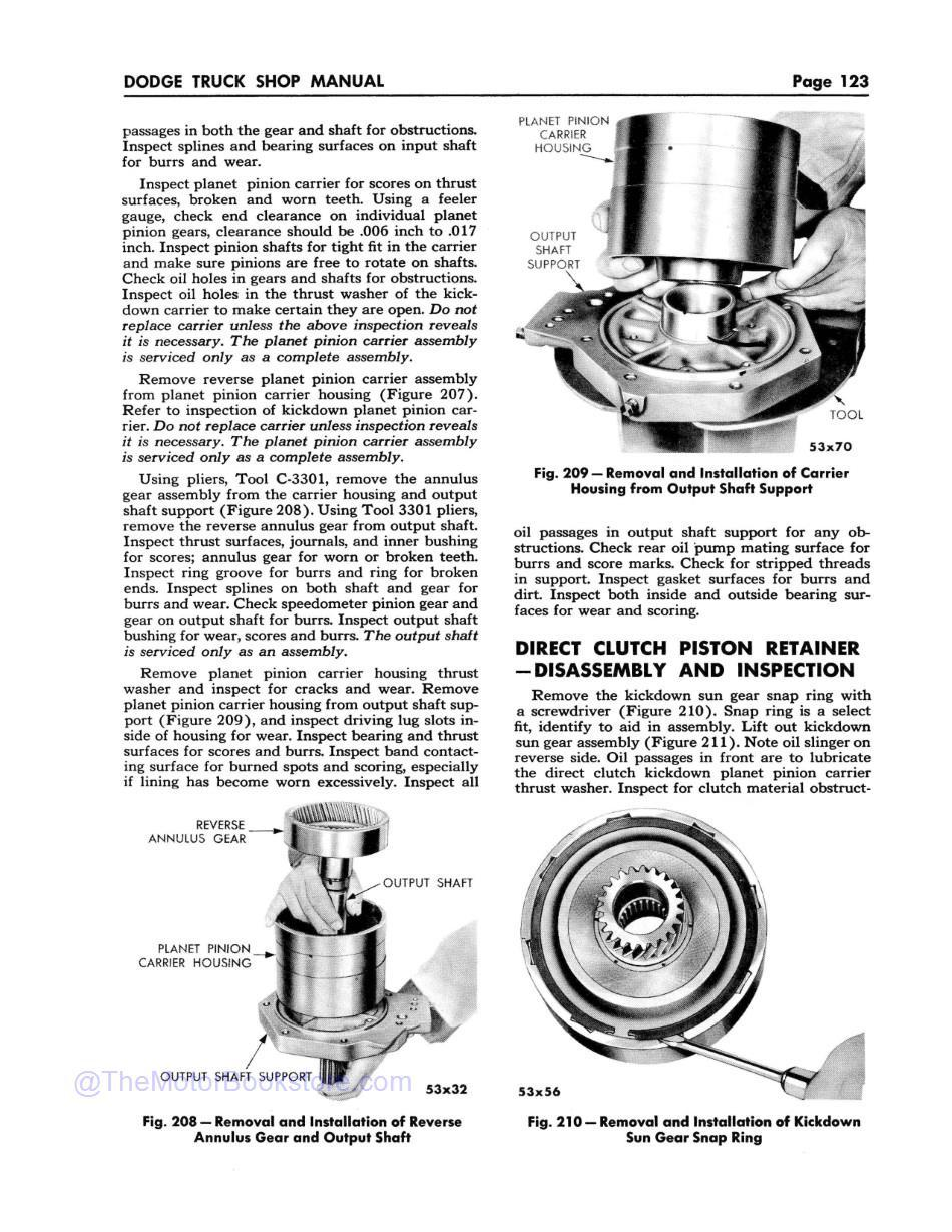 1955-56 Dodge C-3 Truck Shop Manual Supplement  Sample Page  - Planet Pinion Carrier Removal