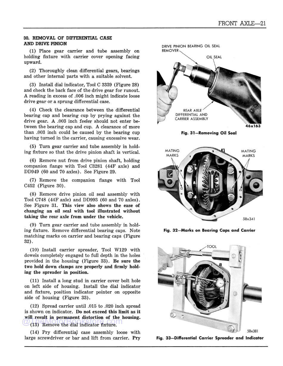 1960 Dodge Truck P Series Shop Manual  Sample Page  - Front Axle Differential Removal