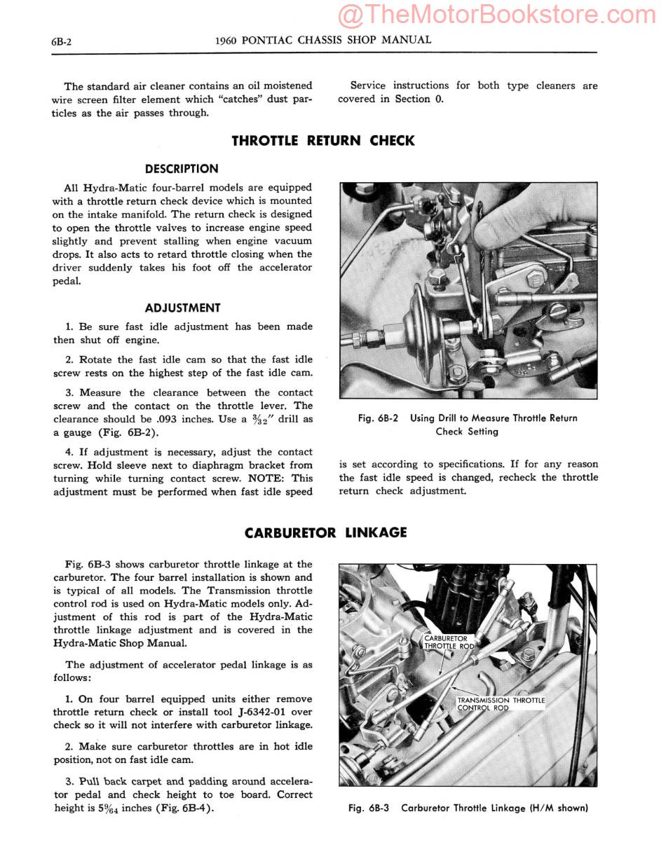 1960 Pontiac Chassis Shop Manual Sample Page - Engine Fuel