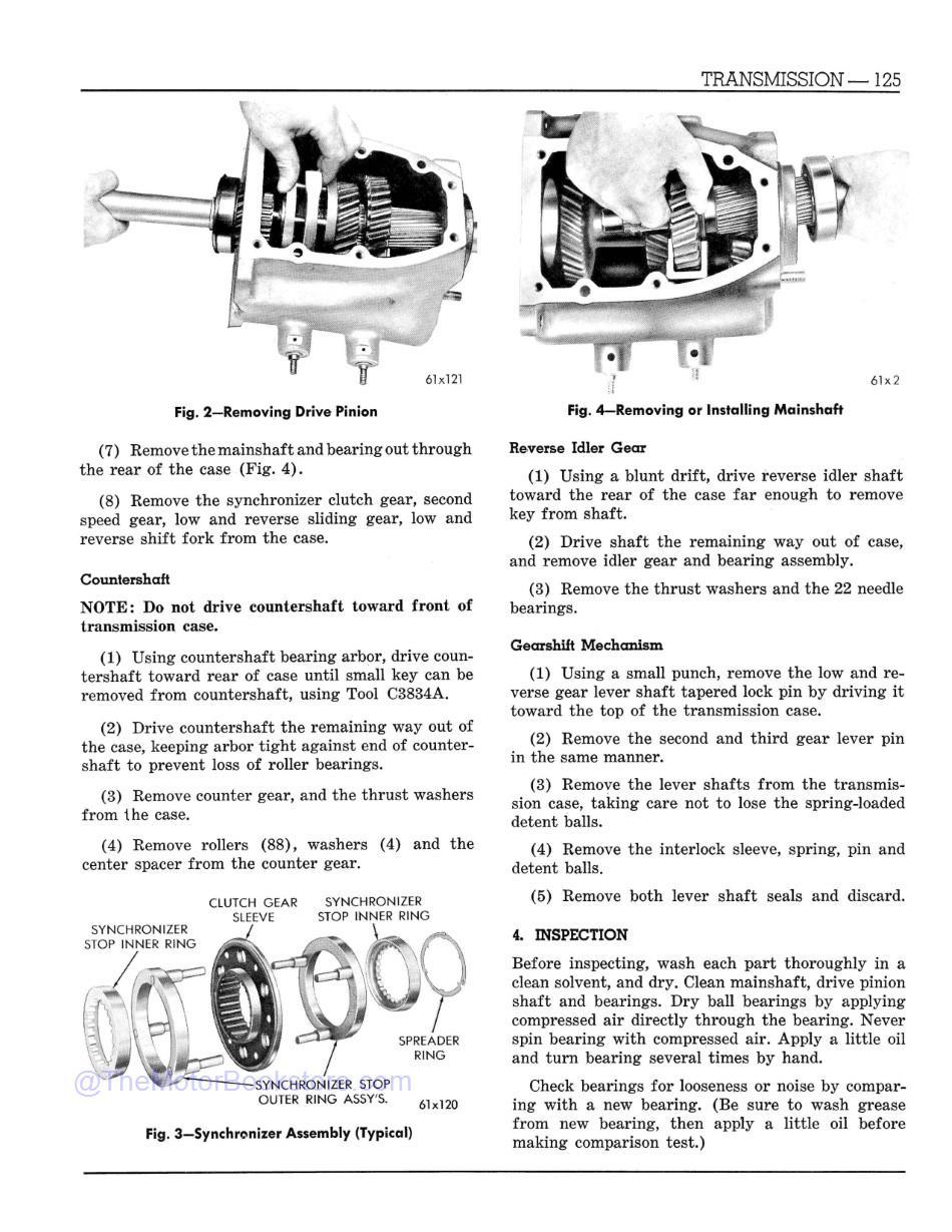1961 Dodge Truck R Series Shop Manual Supplement  Sample Page  - Transmission Drive Pinion Removal
