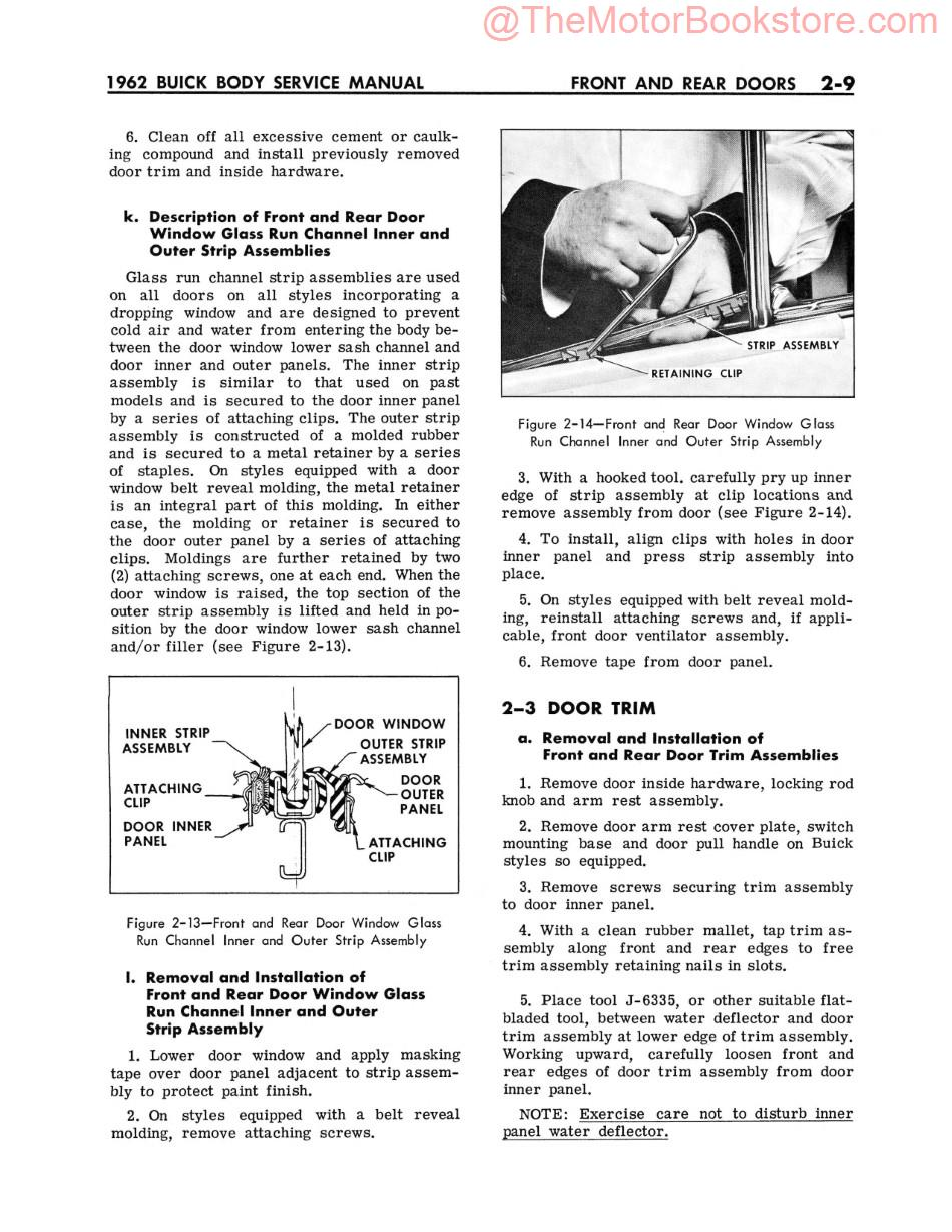 1962 Buick Body Service Manual  Sample Page - Front and Rear Doors