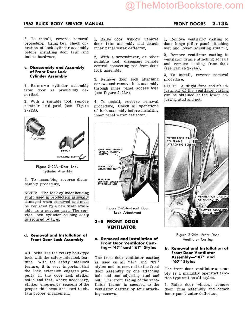 1963 Buick Body Service Manual  Sample Page - Front Doors
