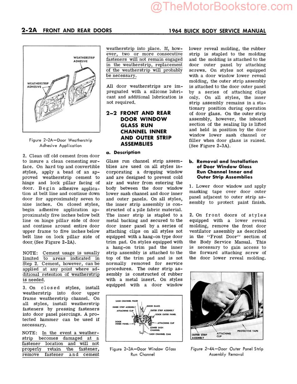 1964 Buick Body Service Manual  Sample Page - Front and Rear Doors