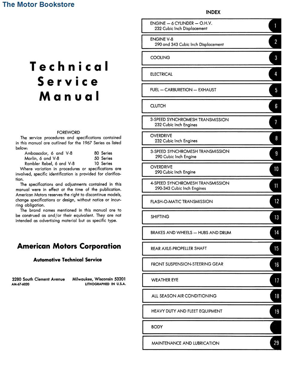 1967 AMC Technical Service Manual - Rambler Rebel, Ambassador and Marlin