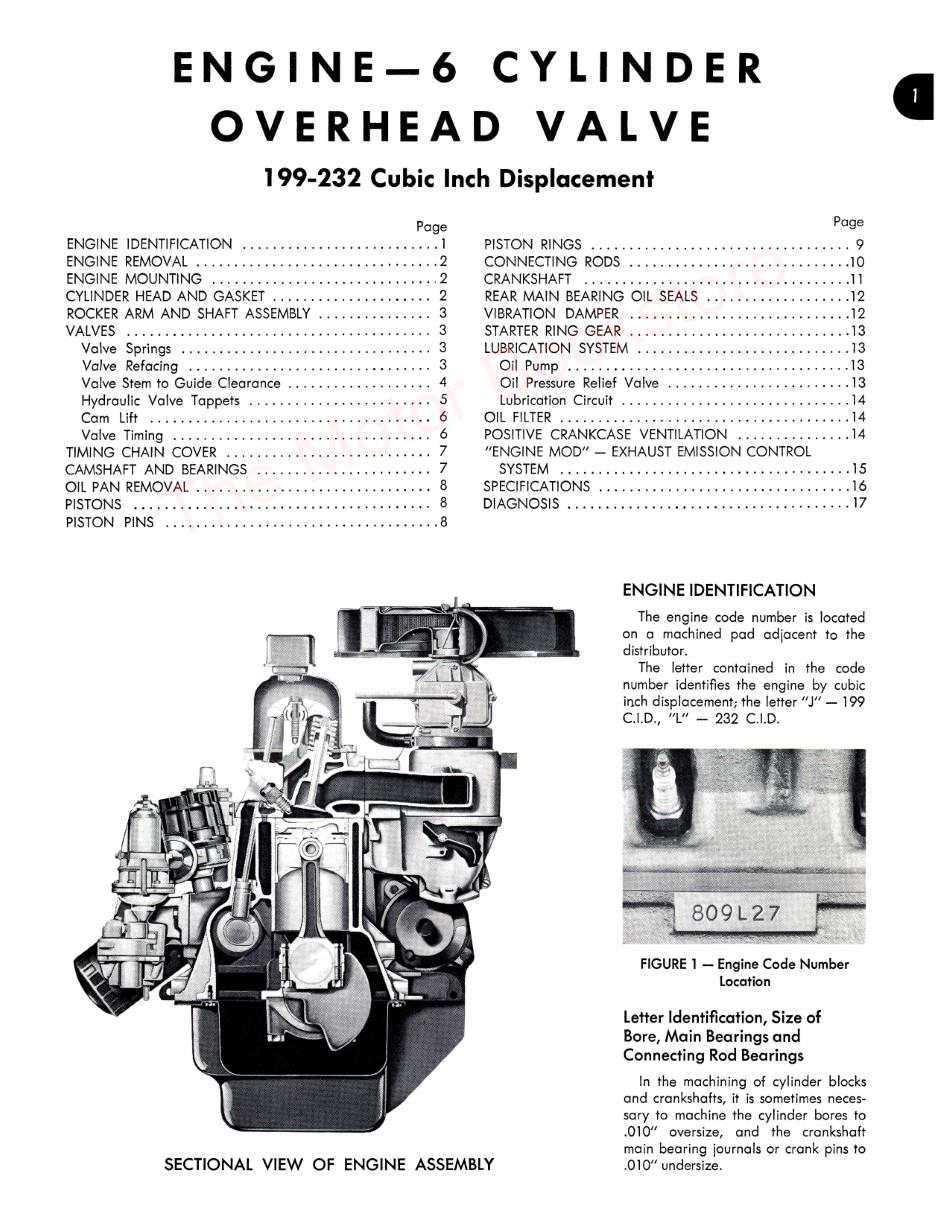 1967 AMC American Technical Service Manual Sample Page - Engine
