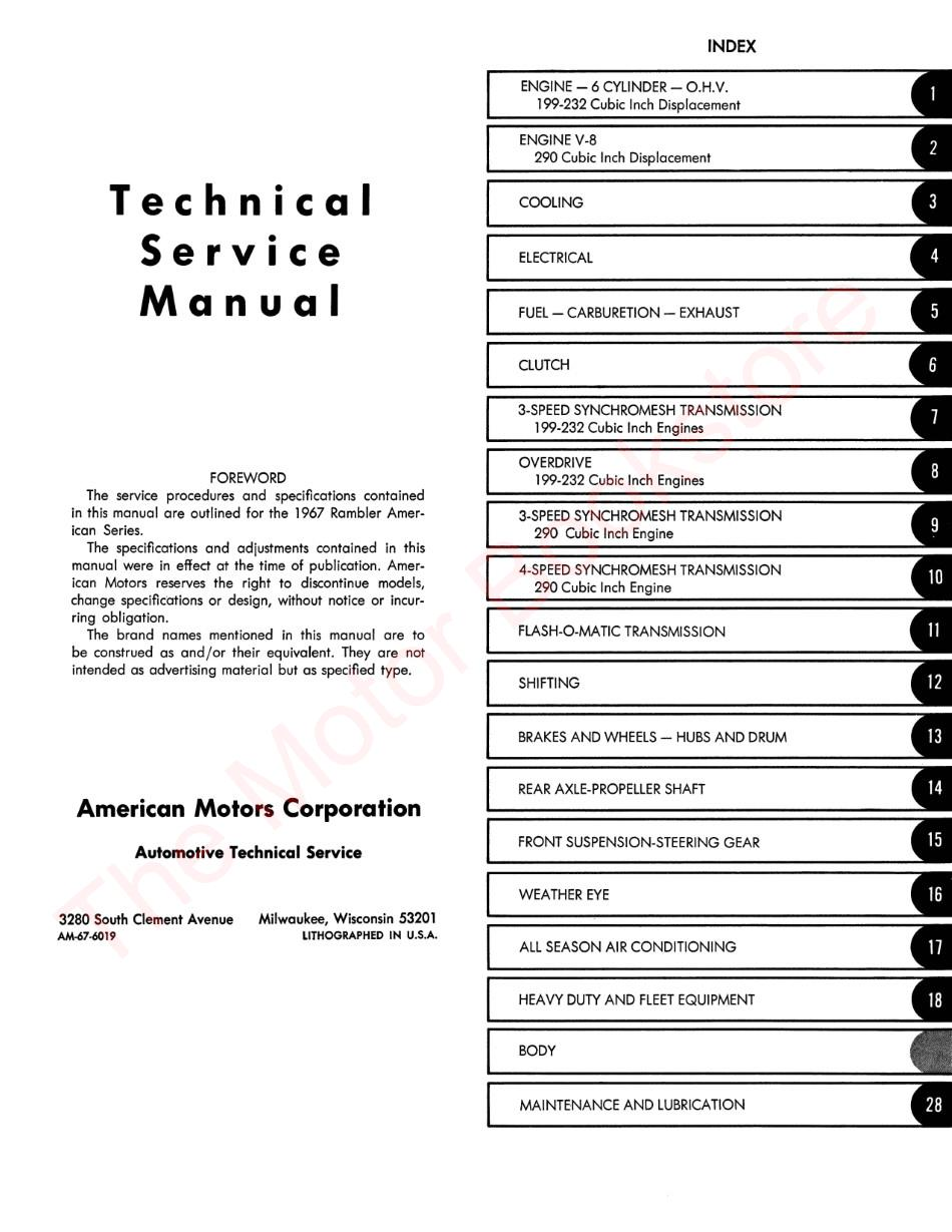 1967 AMC American Technical Service Manual - Table of Contents Page 1