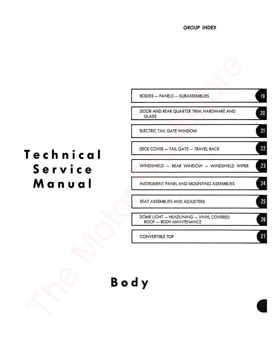 1967 AMC American Technical Service Manual - Table of Contents Page 2