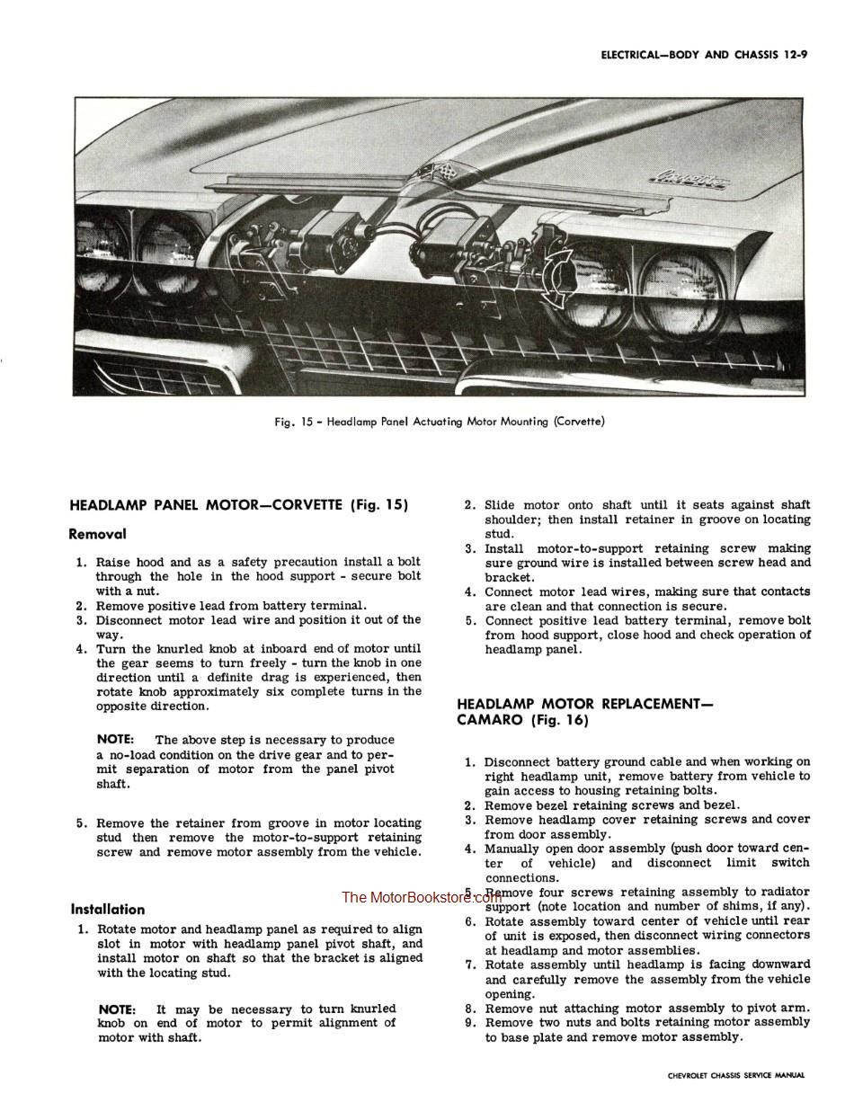 1967 Chevrolet Chassis Shop Manual Sample Page - Headlamp Motor