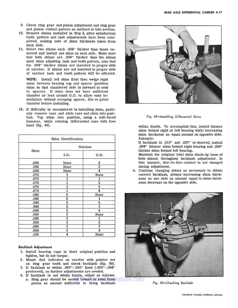 1967 Chevy Car Chassis Overhaul Manual Sample Page - Differential Backlash Check