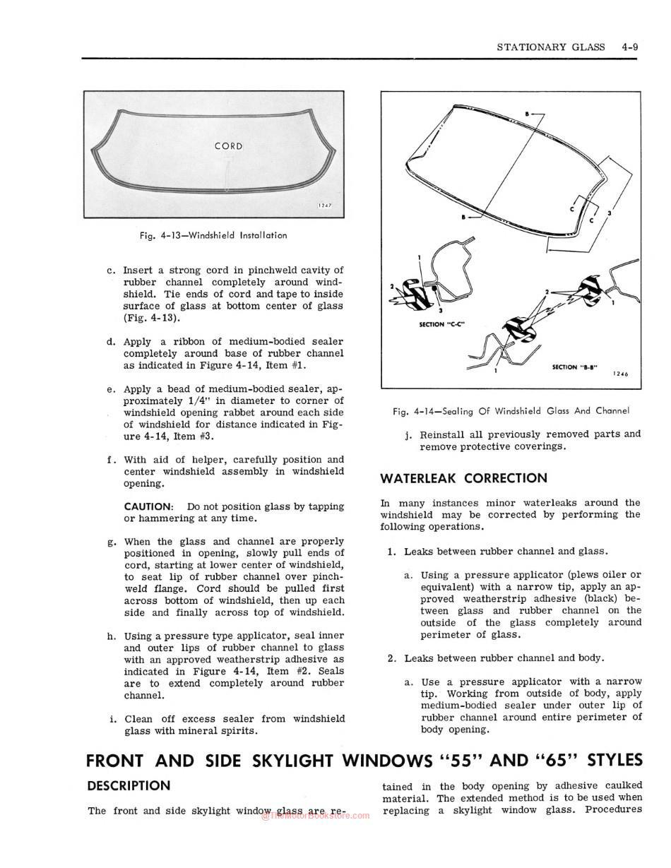 1967 Fisher Body Shop Manual Sample Page - Glass Section