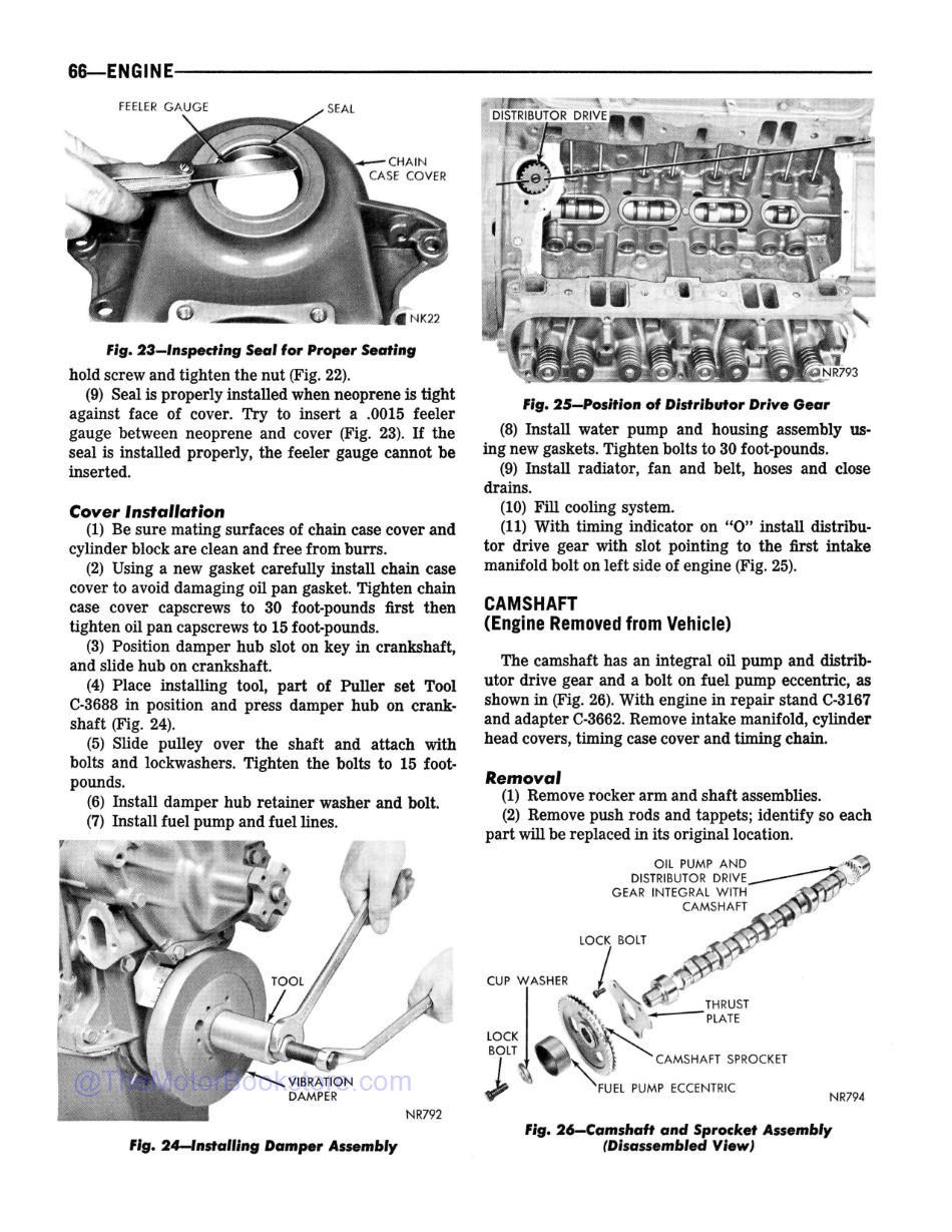 1968 Dodge Truck 100-800 Shop Manual Supplement Sample Page  - Engine Section