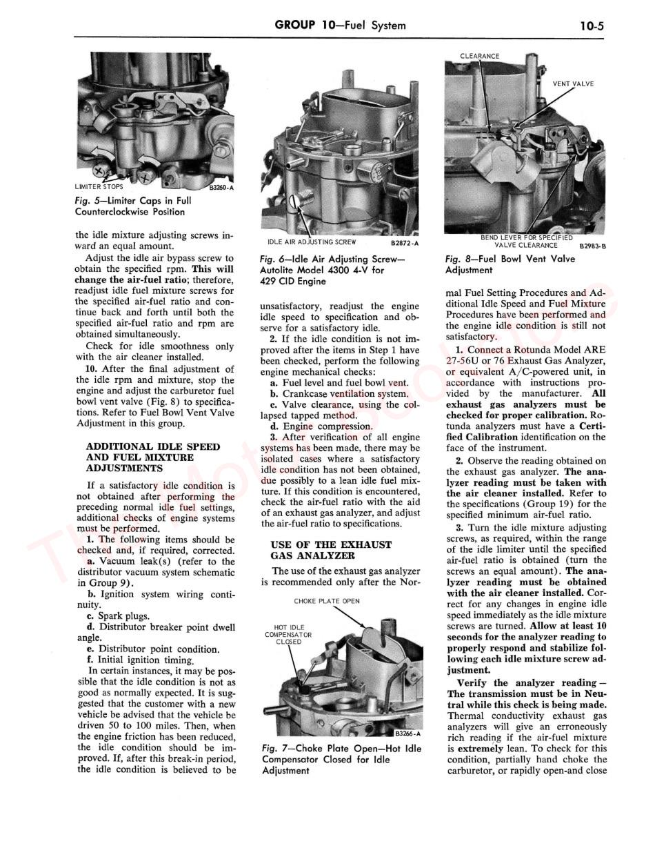 1968 Ford Thunderbird Shop Manual Supplement Sample Page - Fuel System